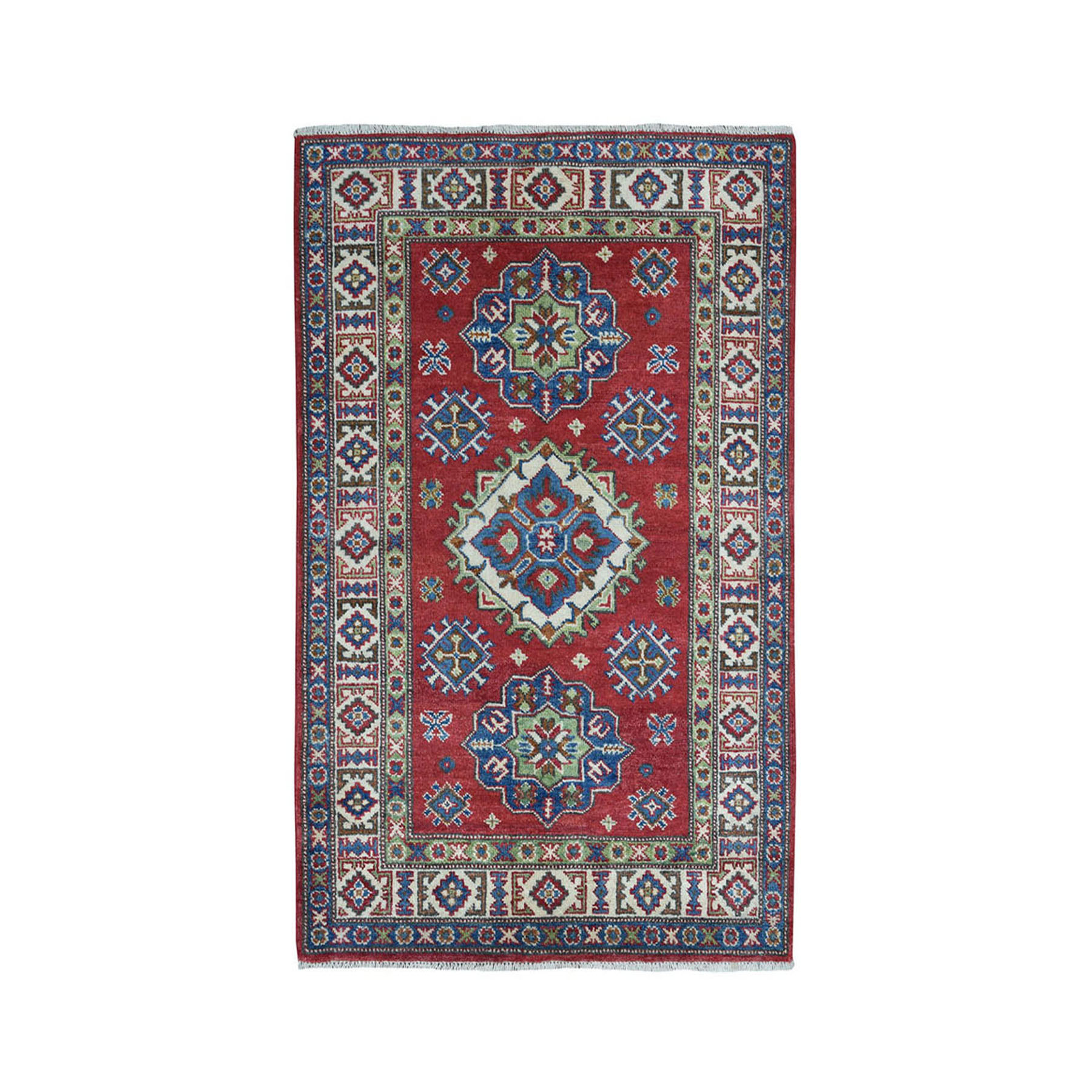 """3'3""""X5' Red Kazak Geometric Design Pure Wool Hand-Knotted Oriental Rug moae078a"""