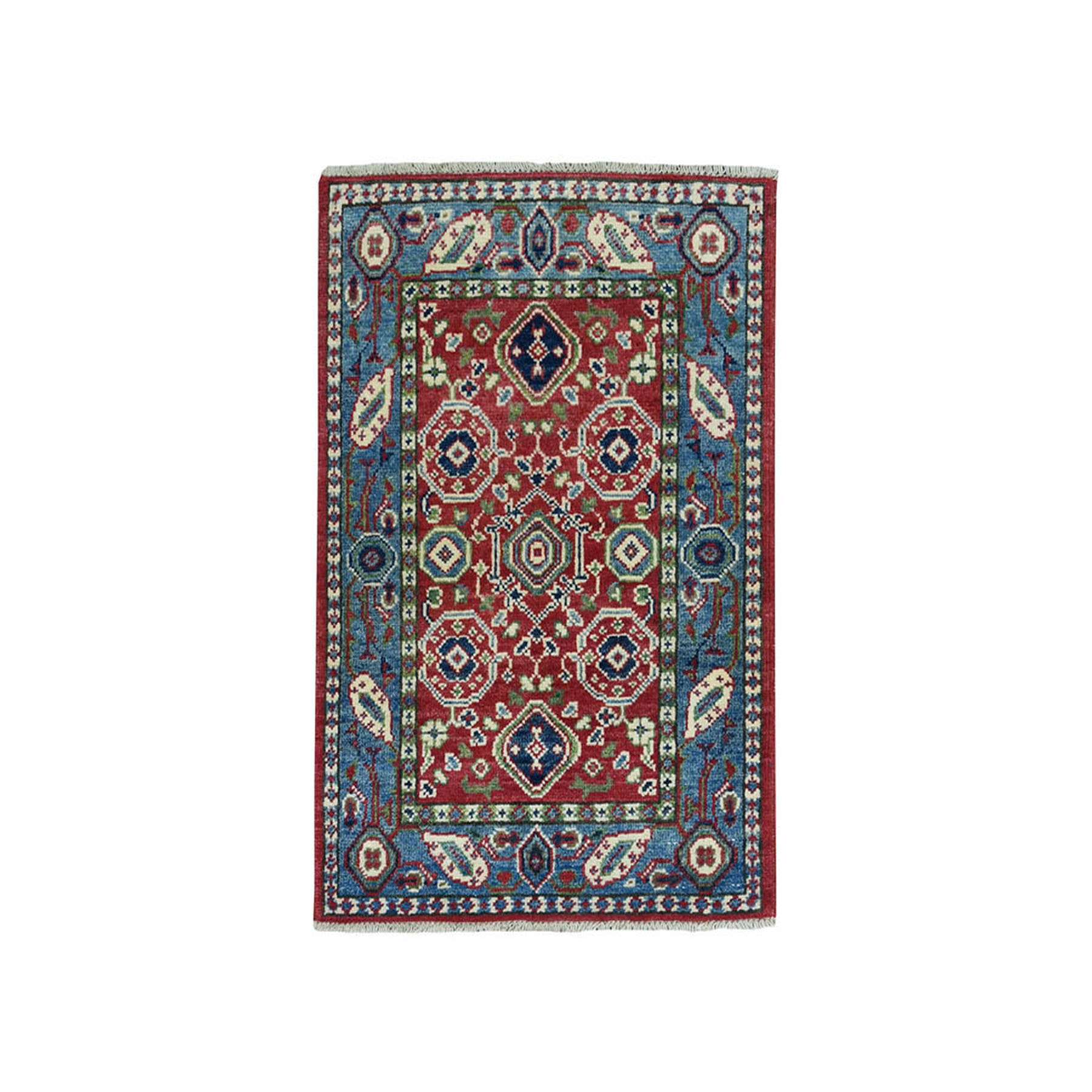 2'X3' Red Tribal And Geometric Design Kazak Pure Wool Hand-Knotted Oriental Rug moae078c