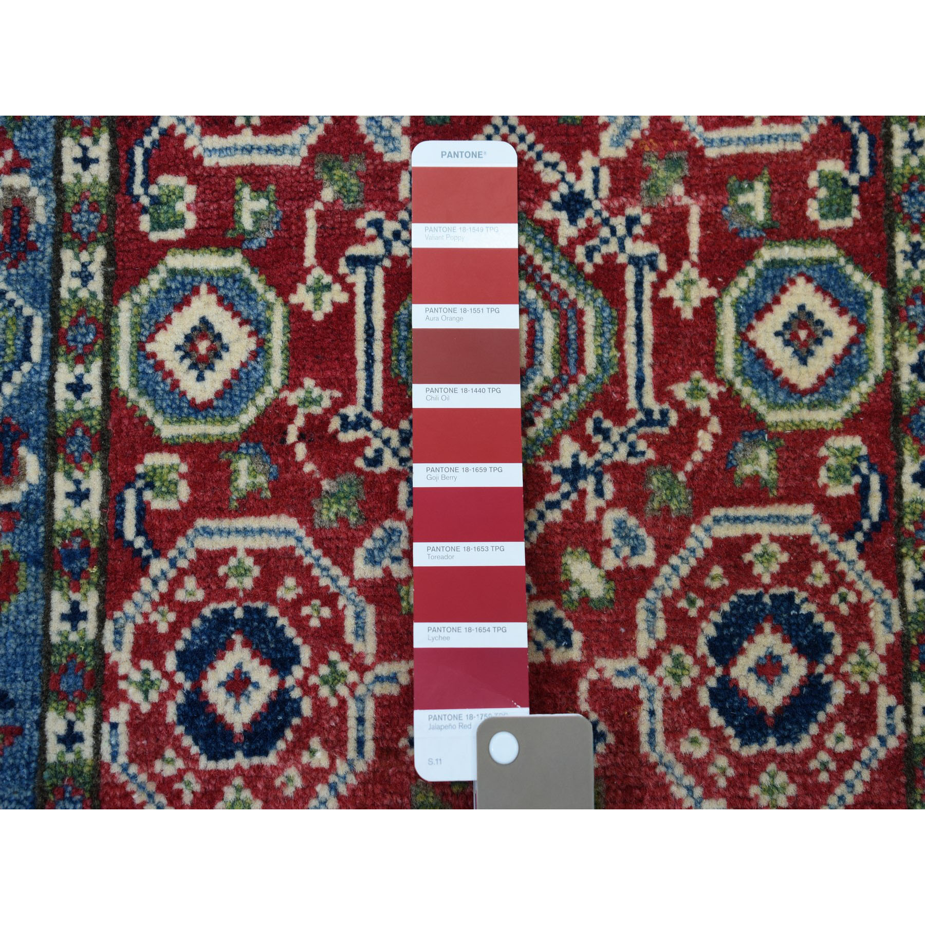 2-x3- Red Tribal and Geometric Design Kazak Pure Wool Hand-Knotted Oriental Rug
