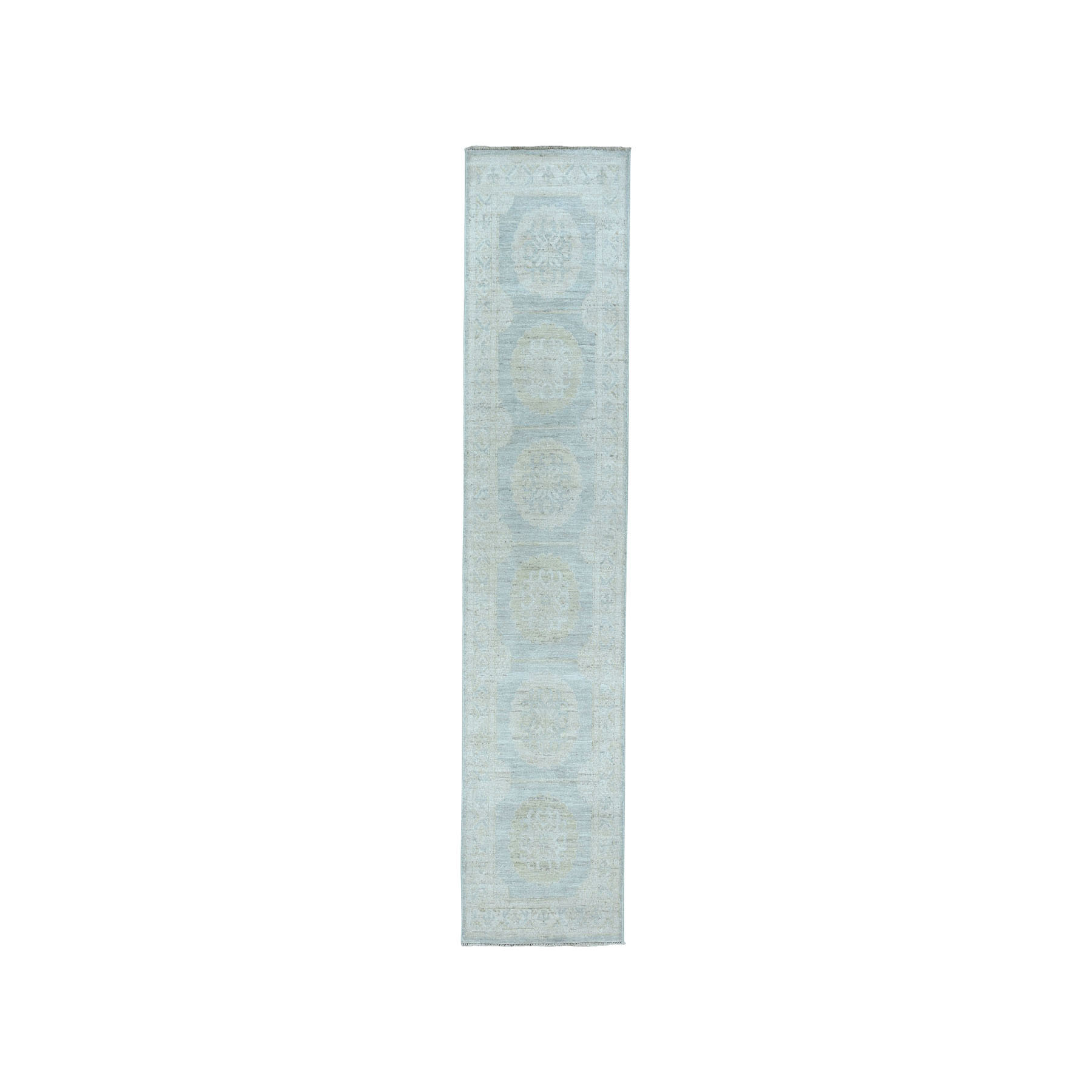 "2'5""x9'5"" White Wash Peshawar Pure Wool Hand-Knotted Oriental Runner Rug"