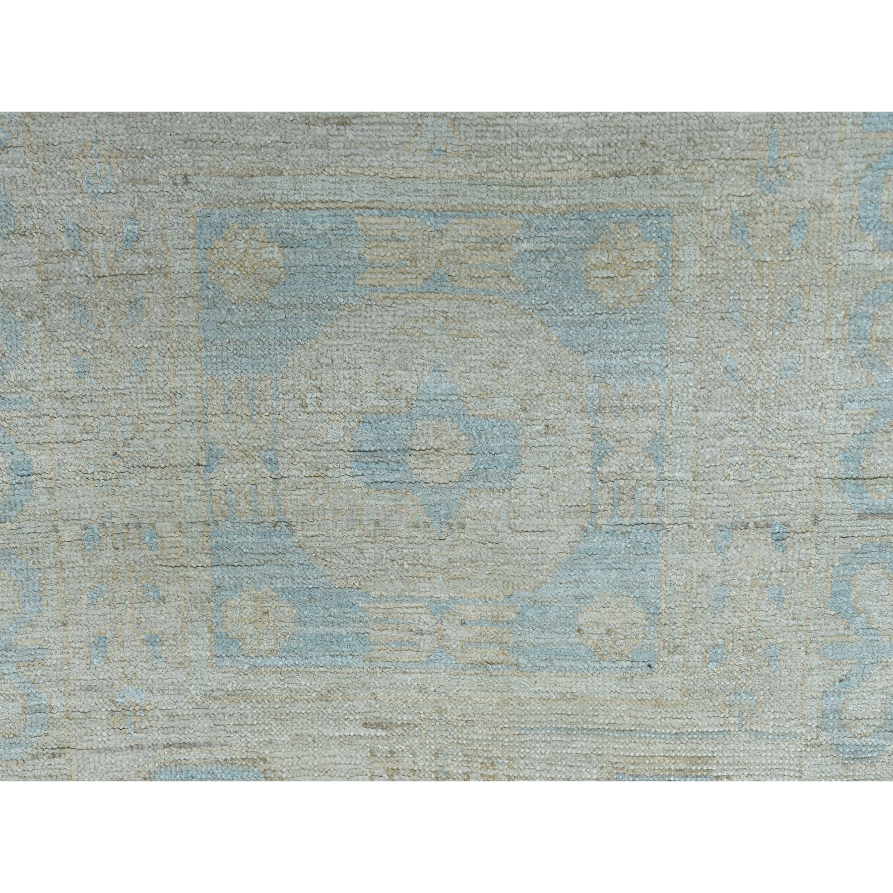 "2'7""x13'7"" White Wash Peshawar Pure Wool Hand-Knotted Oriental Runner Rug"