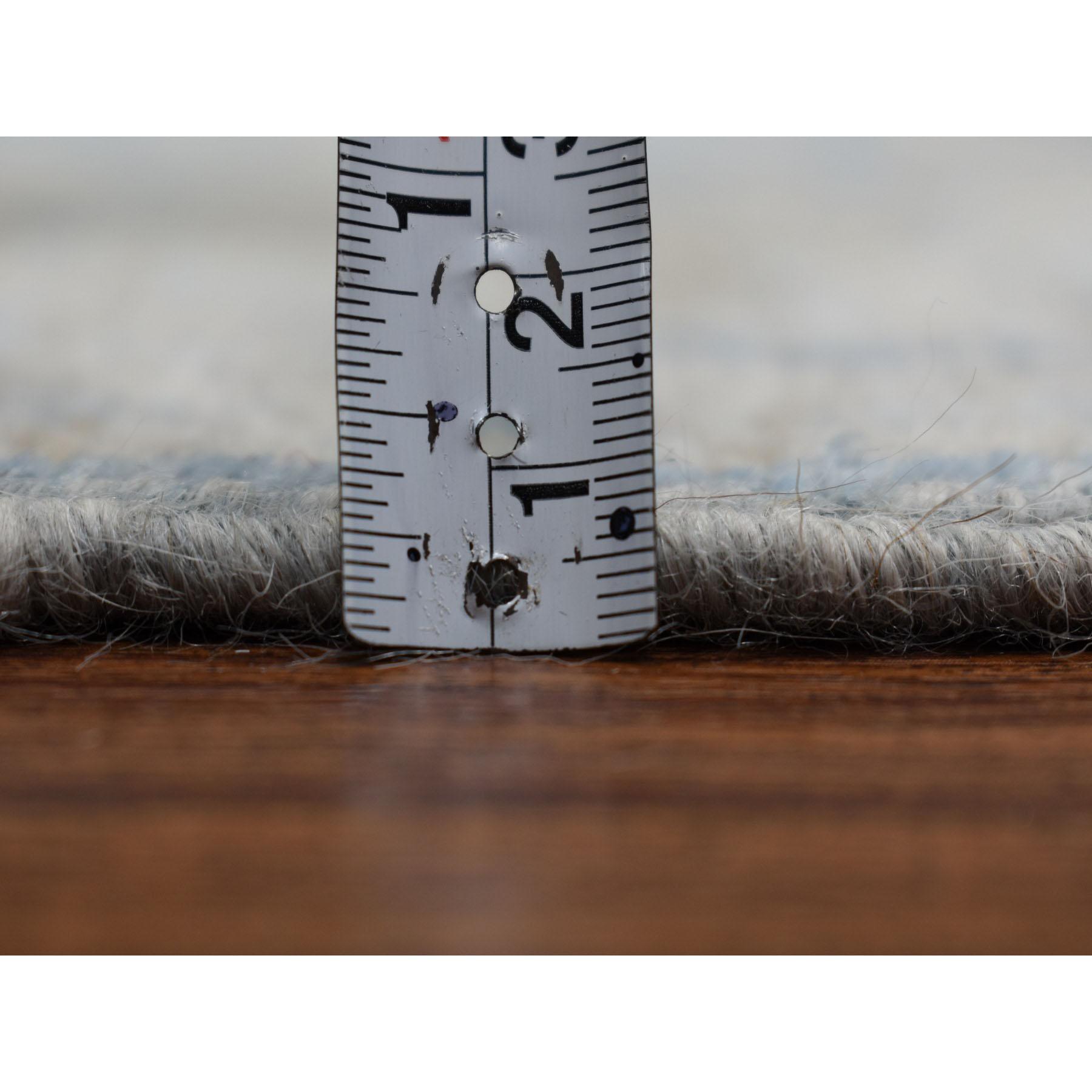 2-9 x11-8  White Wash Peshawar Pure Wool Hand-Knotted Oriental Runner Rug