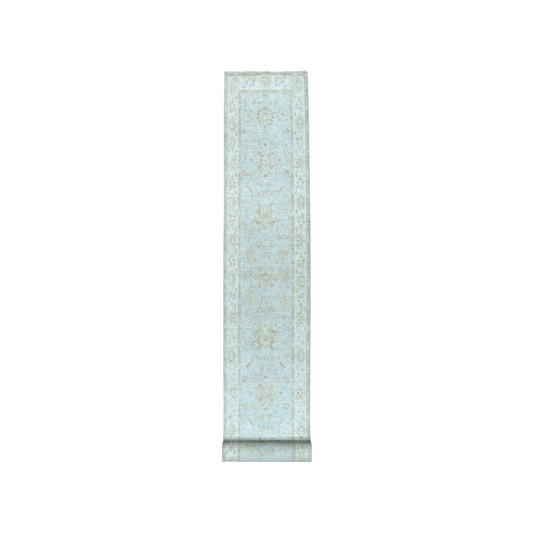 "2'8""x15'9"" White Wash Peshawar Pure Wool Hand-Knotted Oriental XL Runner Rug"
