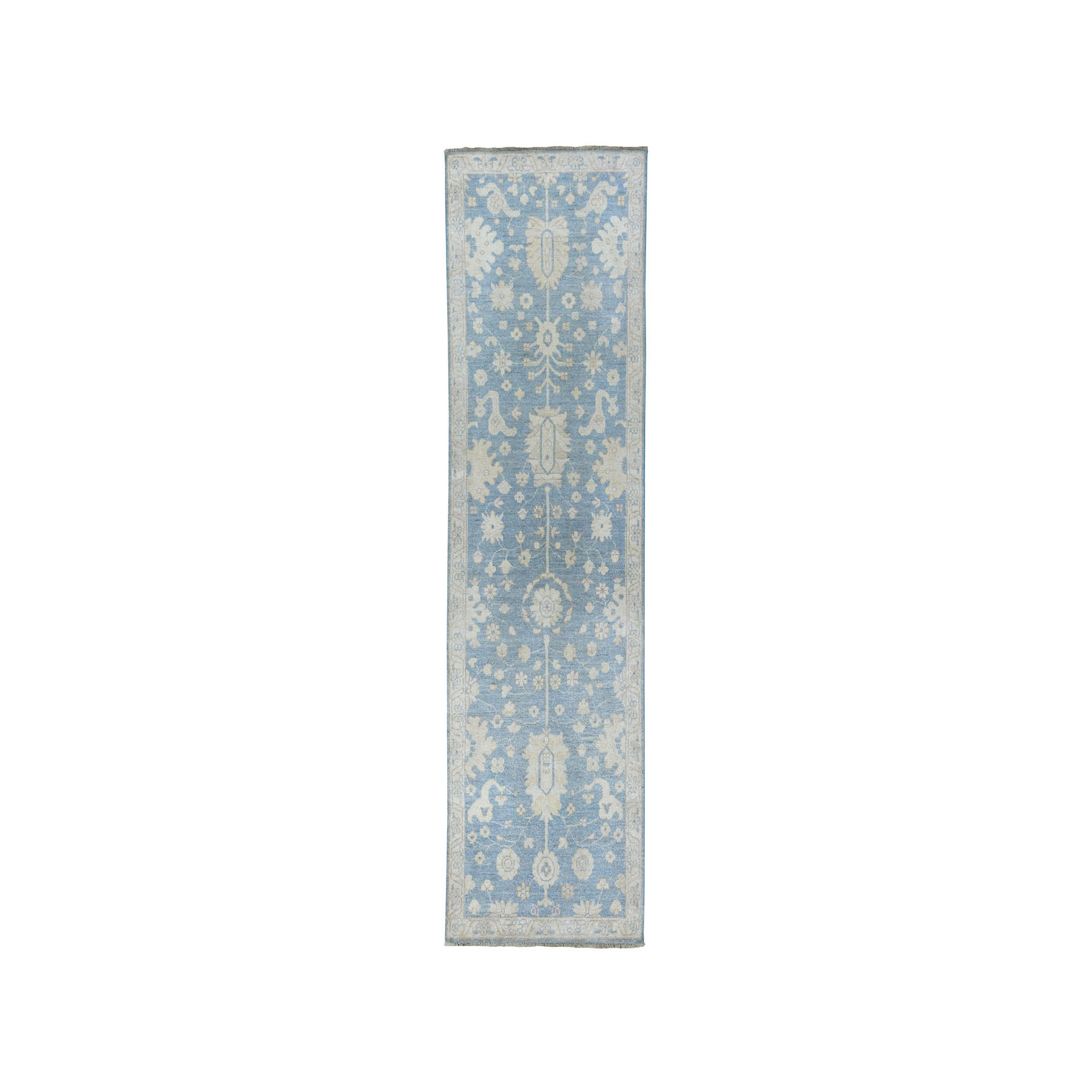 "2'7""X7'10"" Blue Stone Wash Peshawar Runner Pure Wool Hand Knotted Oriental Rug moae079d"