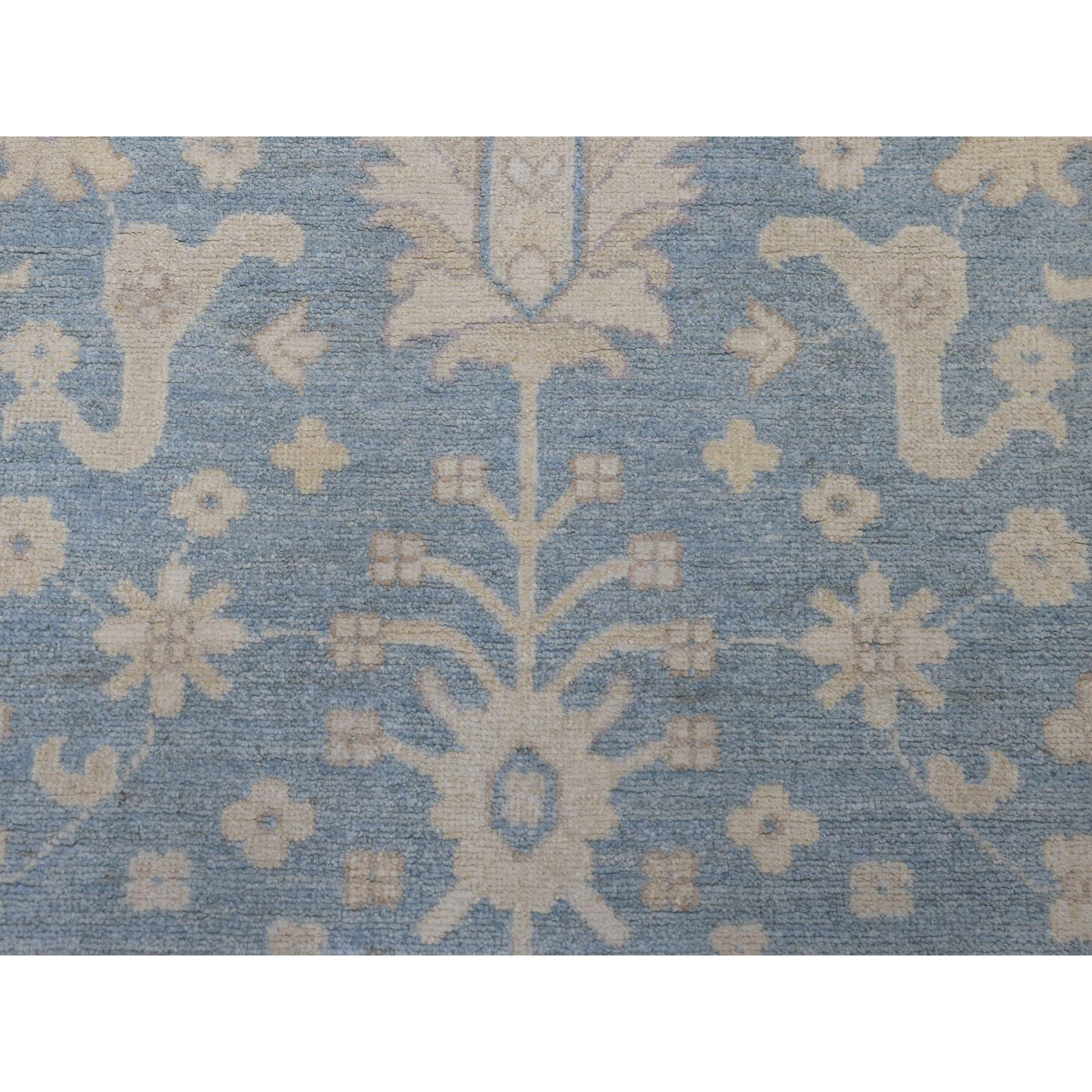 "2'7""x7'10"" Blue Stone Wash Peshawar Runner Pure Wool Hand Knotted Oriental Rug"