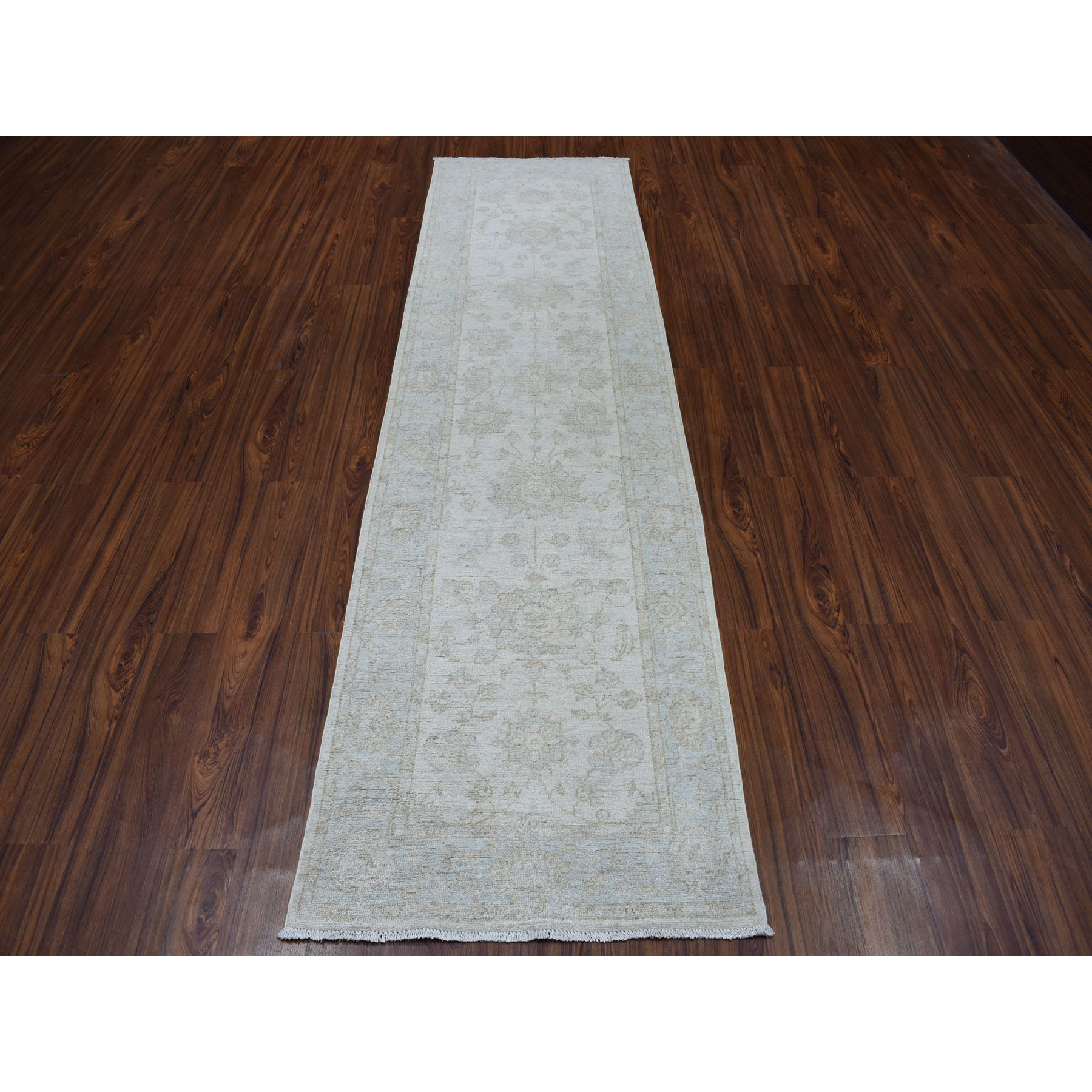 "2'8""x9'6"" White Wash Peshawar Runner Pure Wool Hand Knotted Oriental Rug"