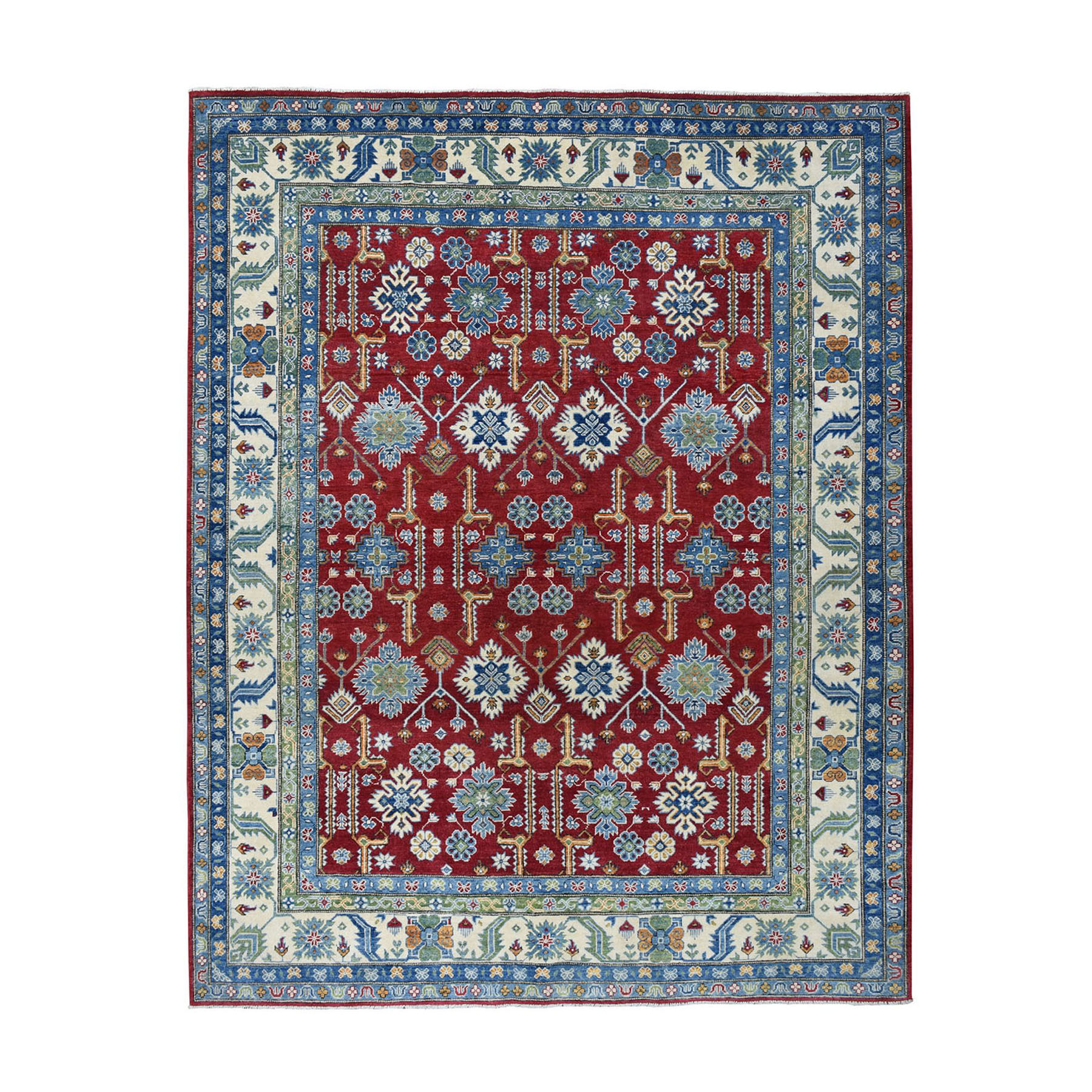 "8'2""X9'8"" Red Kazak Geometric Design Pure Wool Hand-Knotted Oriental Rug moae0797"