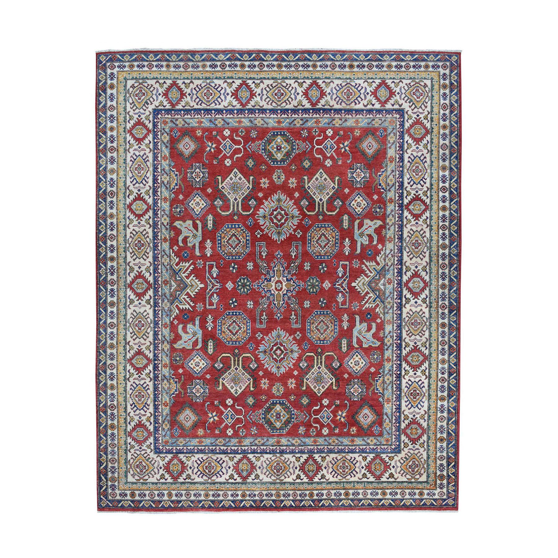"8'2""x9'9"" Red Kazak Geometric Design Pure Wool Hand-Knotted Oriental Rug"