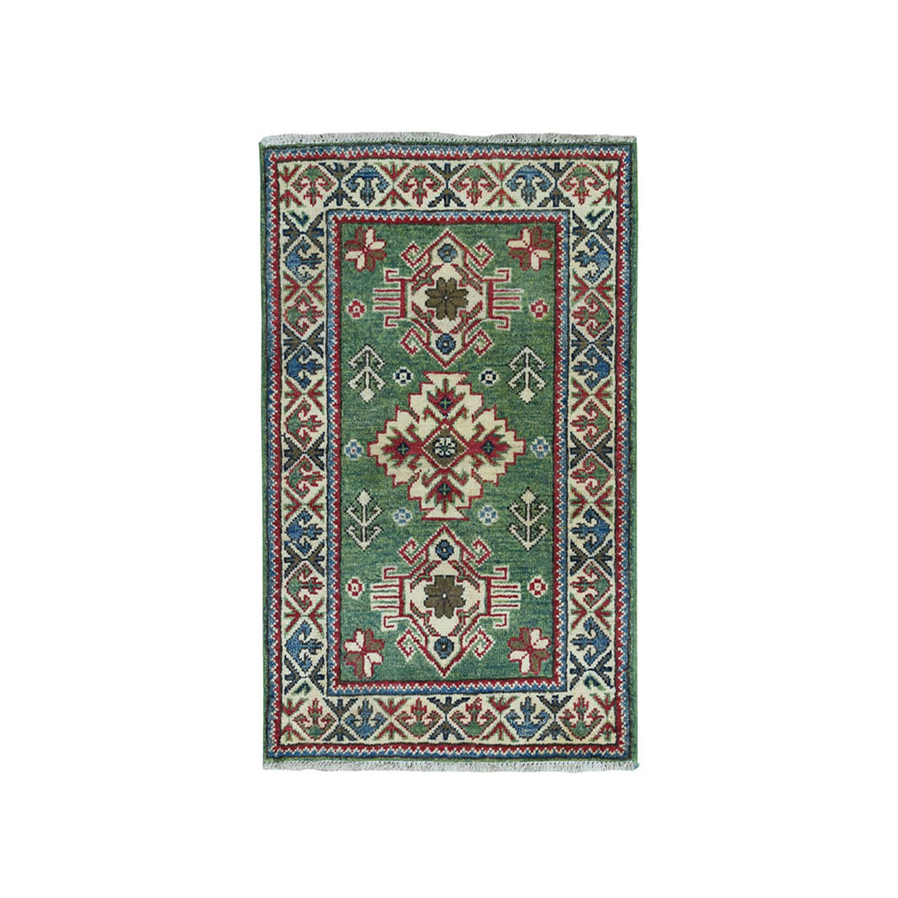 2'X3' Green Kazak Geometric Design Pure Wool Hand-Knotted Oriental Rug moae0799
