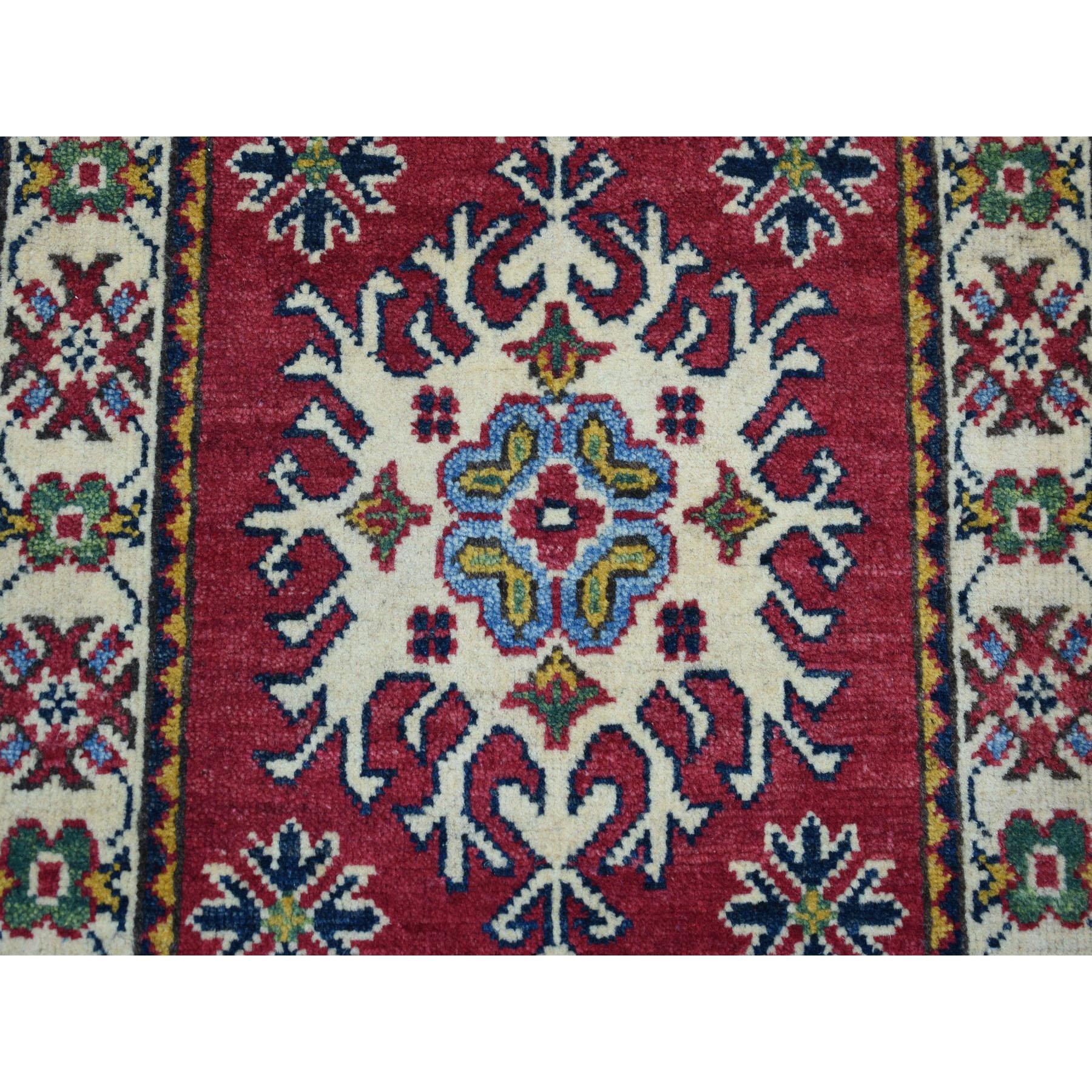 2'x3' Red Kazak Geometric Design Pure Wool Hand-Knotted Oriental Rug