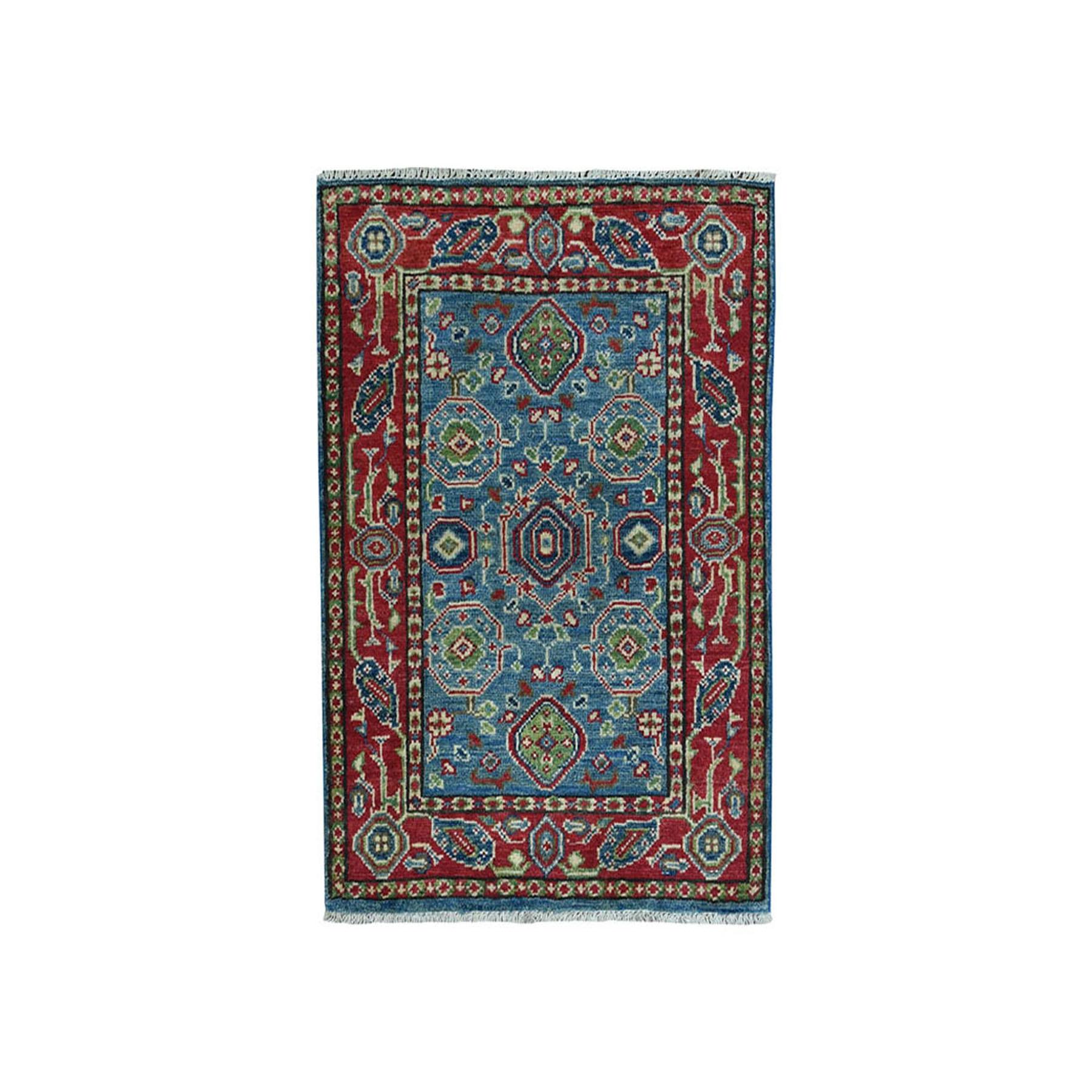 "2'X2'8"" Blue Kazak Geometric Design Pure Wool Hand-Knotted Oriental Rug moae080b"