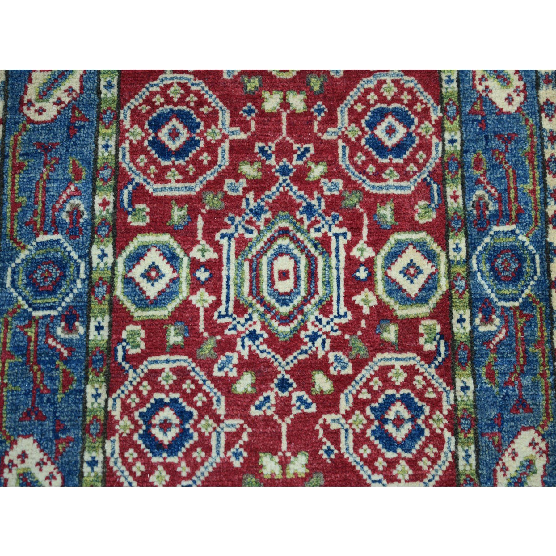 "2'x2'10"" Red Kazak Geometric Design Pure Wool Hand-Knotted Oriental Rug"