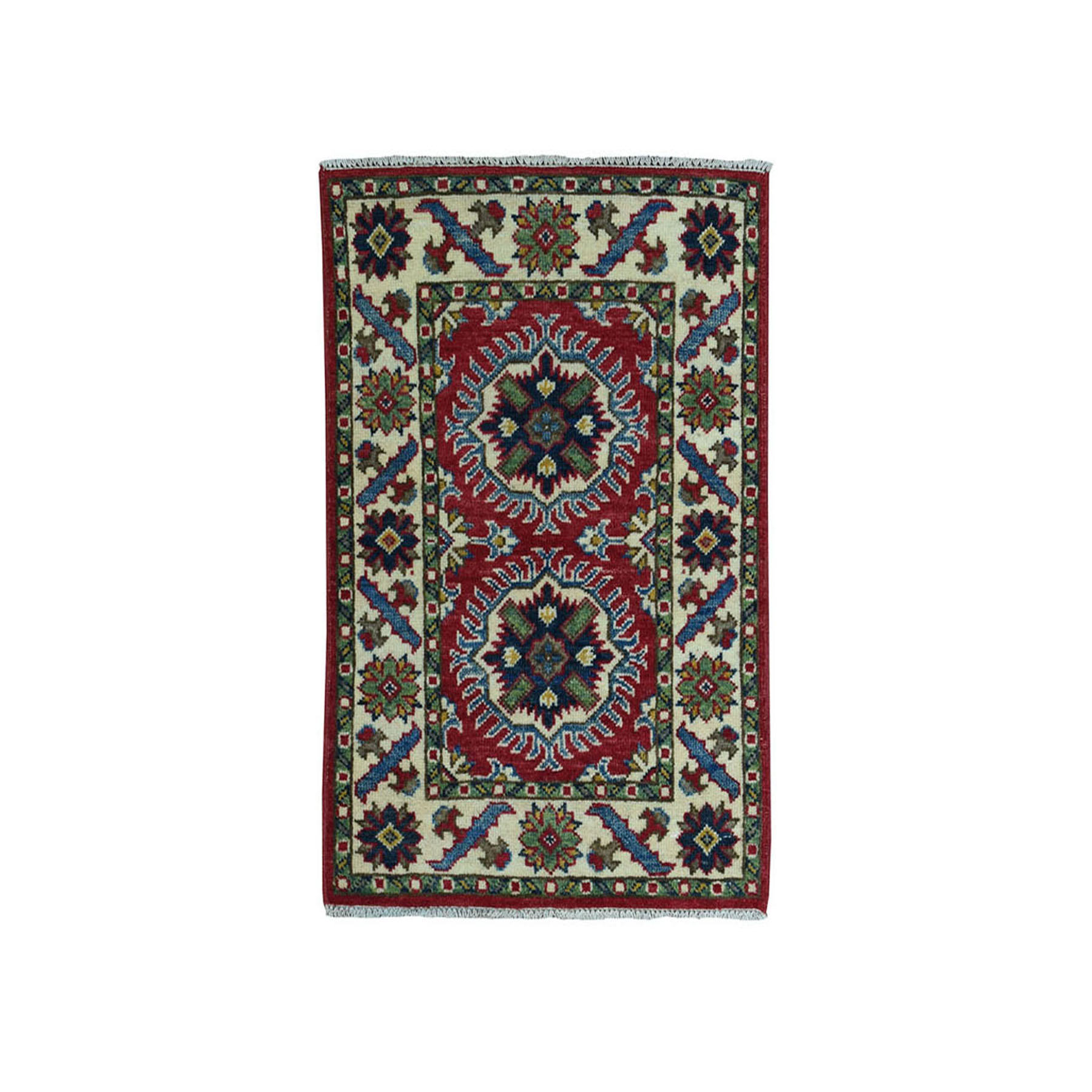 2'X3' Red Kazak Geometric Design Pure Wool Hand-Knotted Oriental Rug moae080d