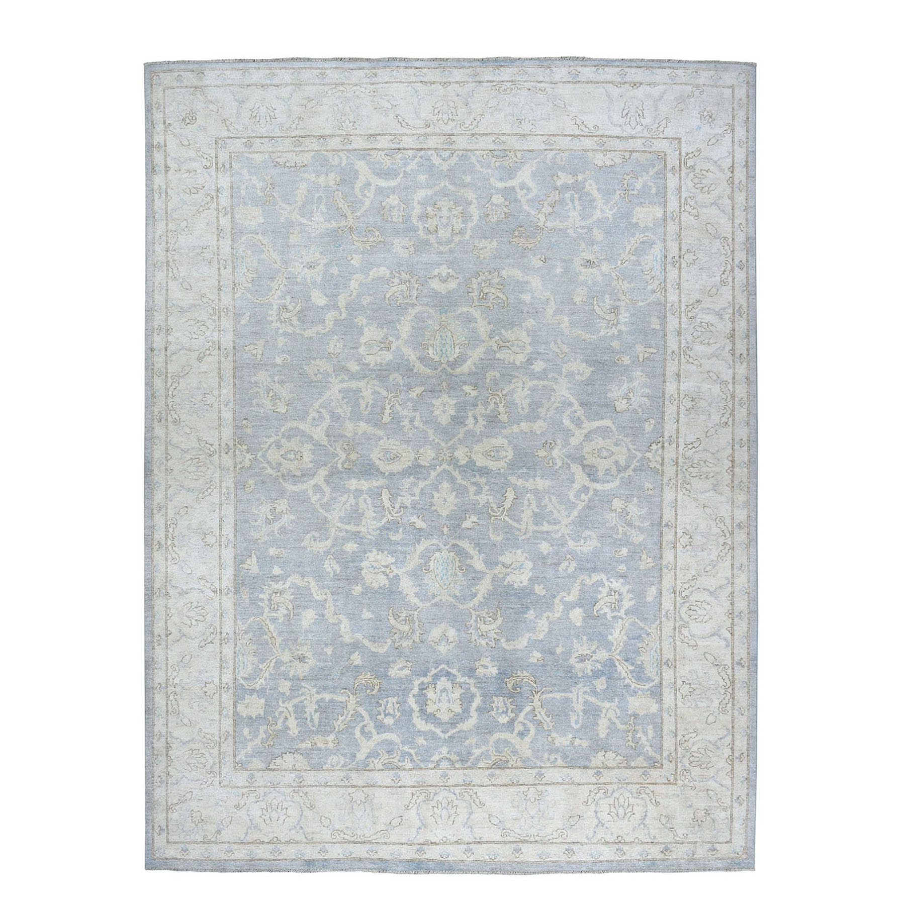 """8'10""""X11'8"""" White Wash Peshawar Pure Wool Hand-Knotted Oriental Rug moae080e"""