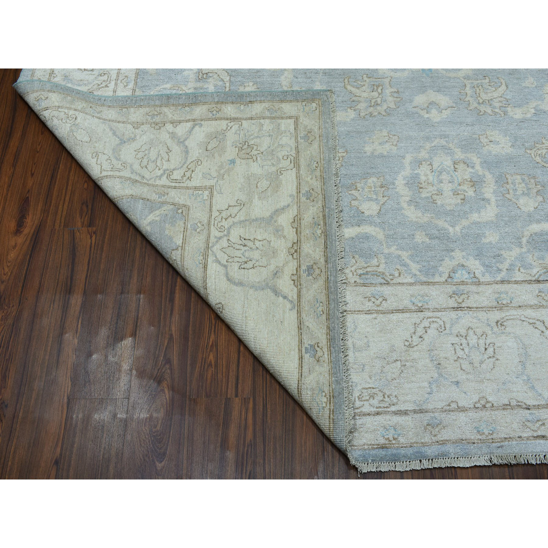 8-10 x11-8  White Wash Peshawar Pure Wool Hand-Knotted Oriental Rug