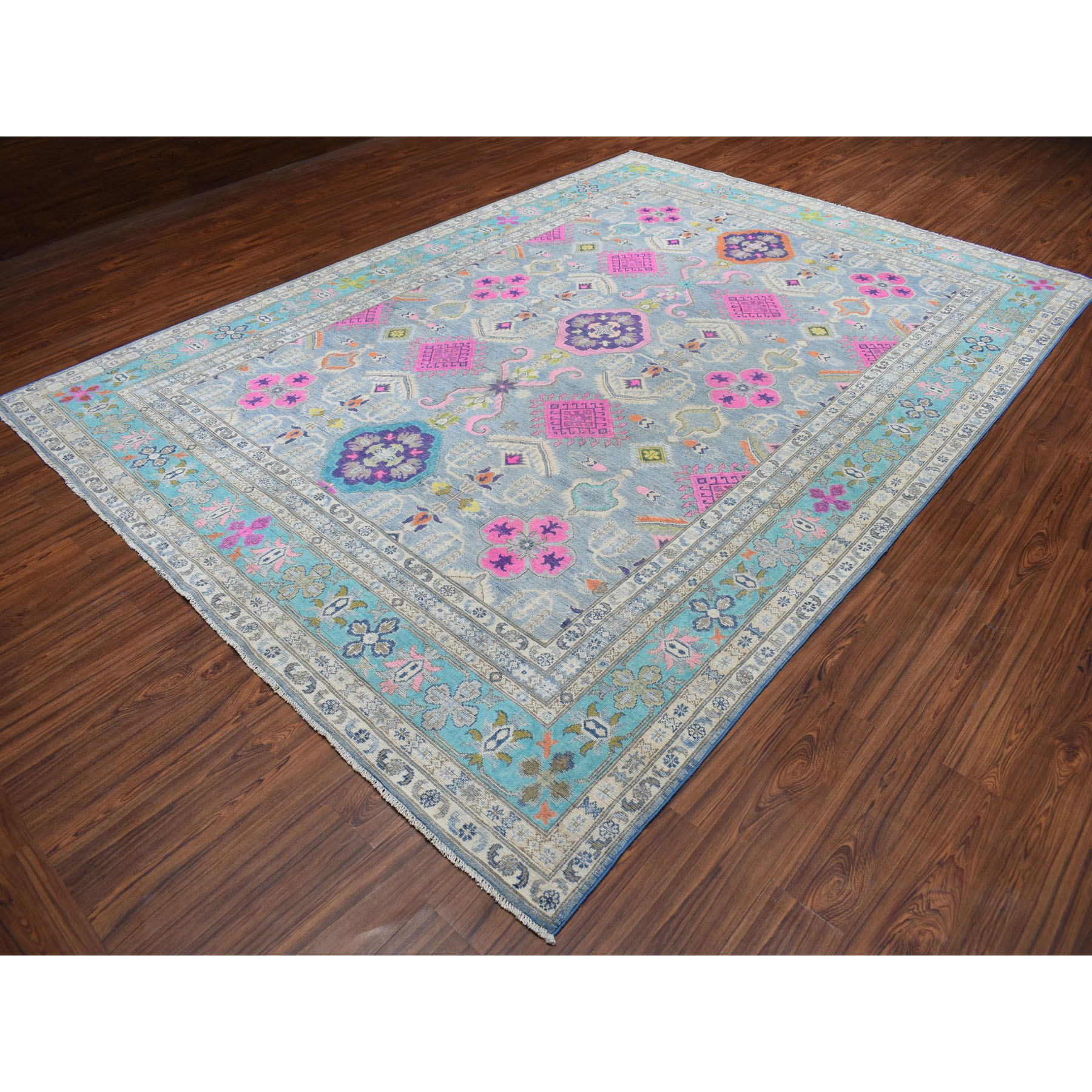 8-9 x12- Colorful Fusion Kazak Geometric Design Pure Wool Hand-Knotted Oriental Rug