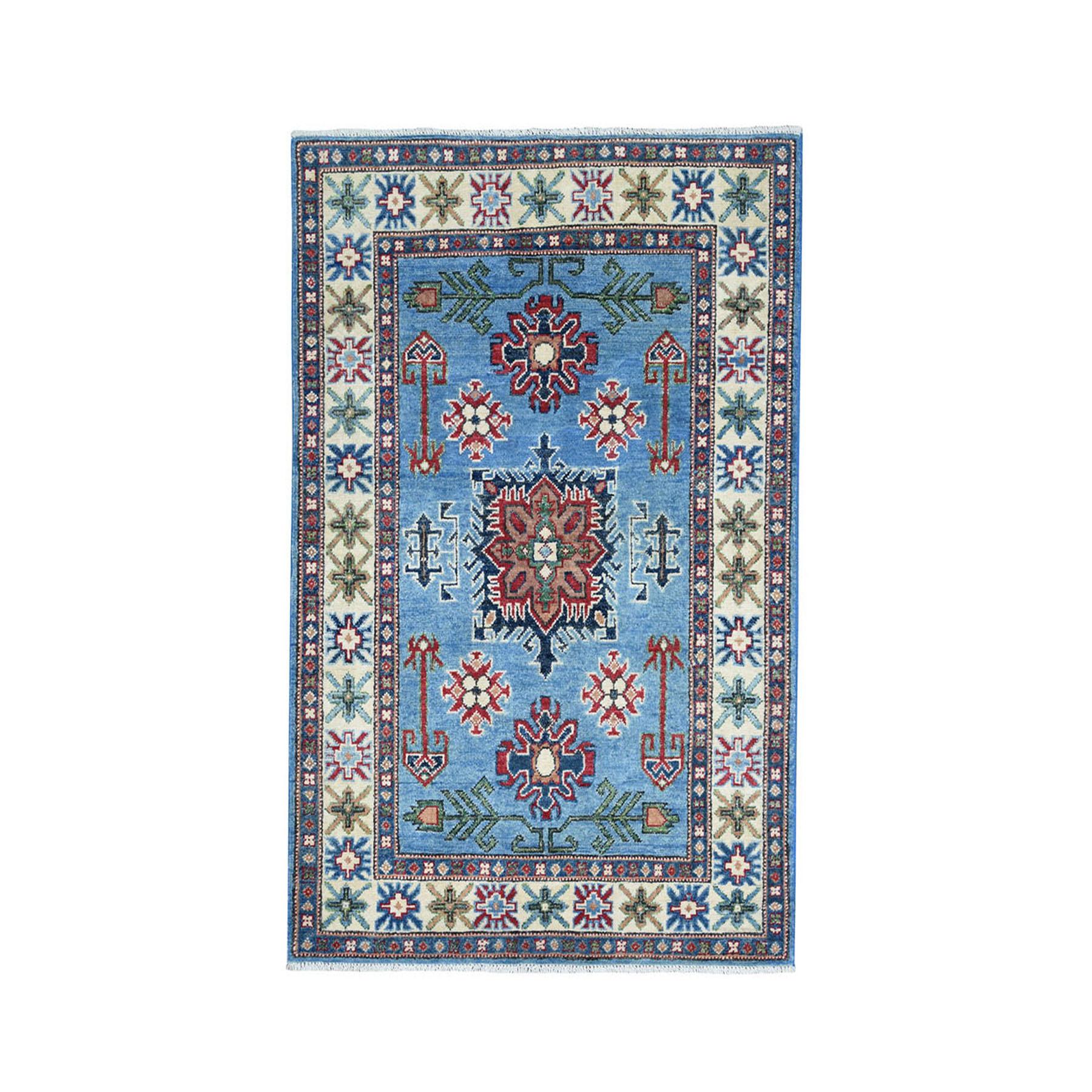 "3'2""X4'9"" Blue Geometric Design Kazak Pure Wool Hand-Knotted Oriental Rug moae08aa"