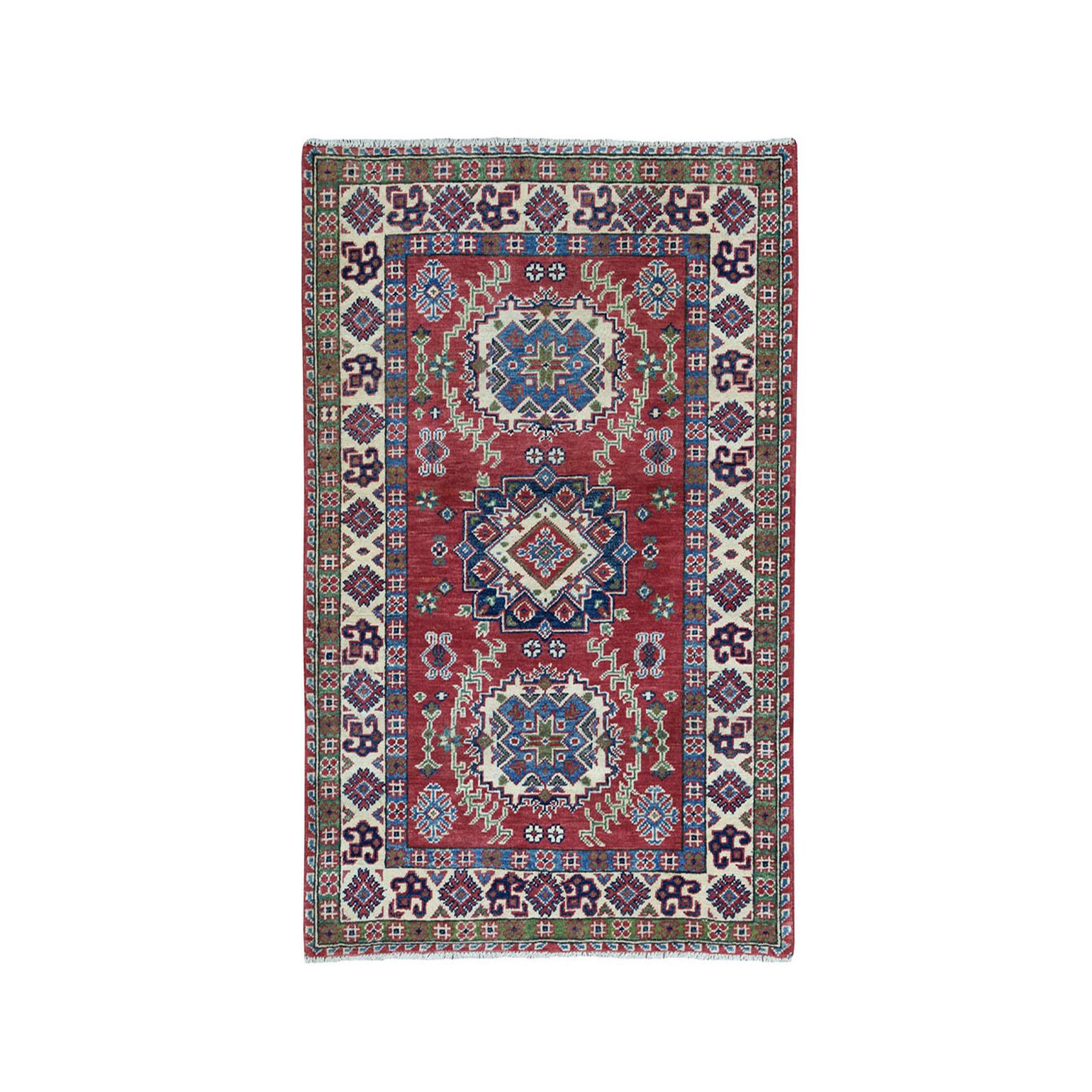 "3'3""X4'5"" Blue Geometric Design Kazak Pure Wool Hand-Knotted Oriental Rug moae08ab"