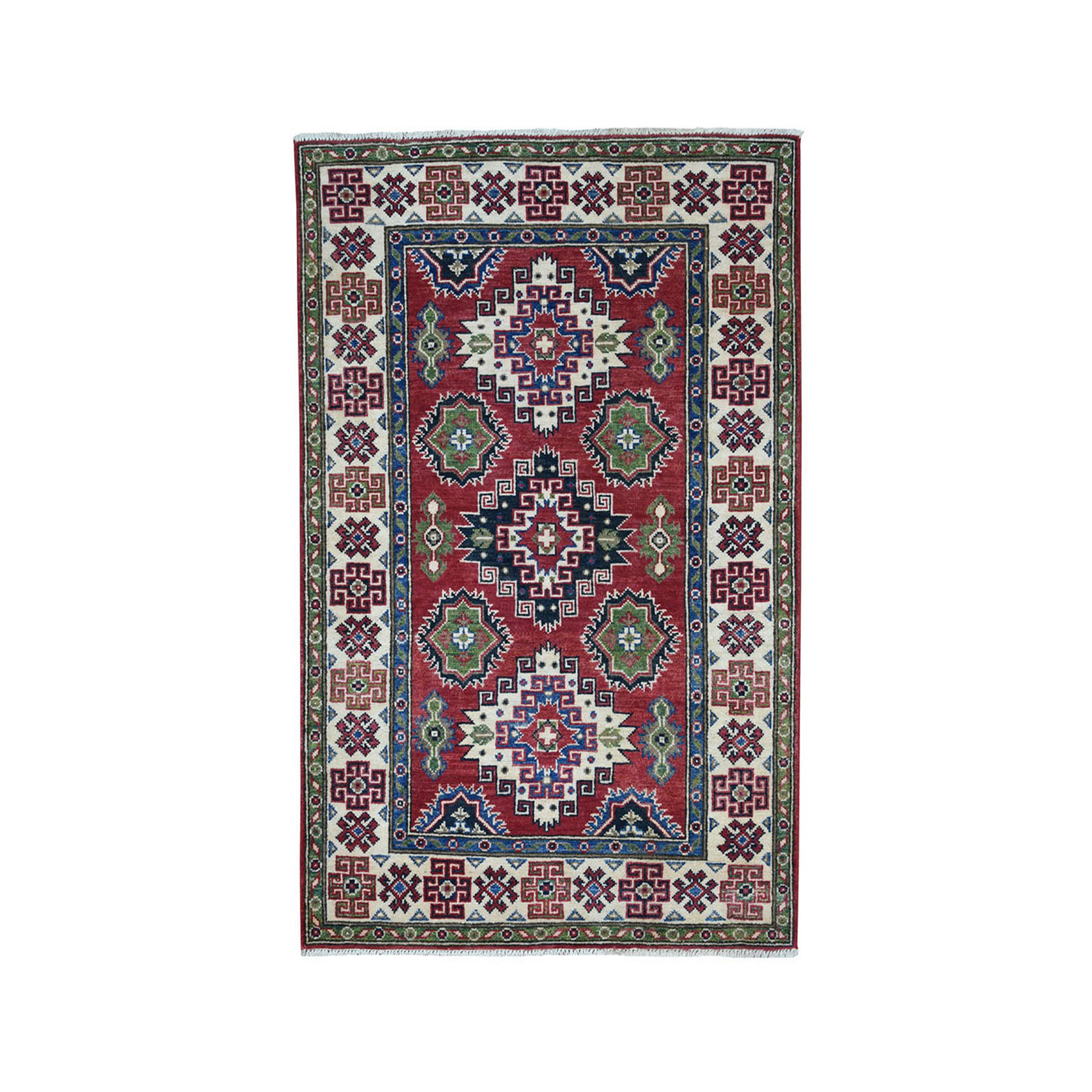 "3'4""X4'10"" Red Geometric Design Kazak Pure Wool Hand-Knotted Oriental Rug moae08ac"