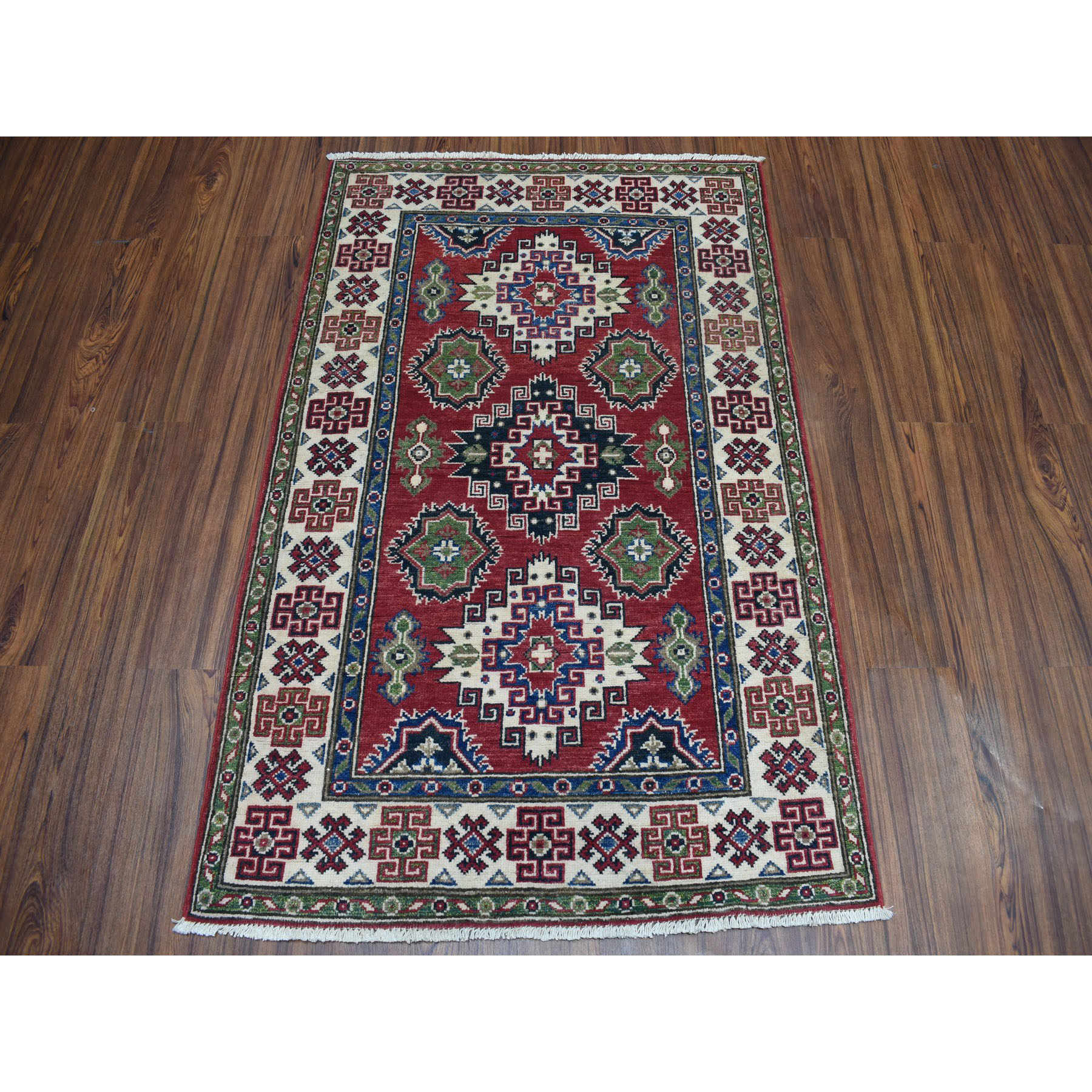 "3'4""x4'10"" Red Geometric Design Kazak Pure Wool Hand-Knotted Oriental Rug"