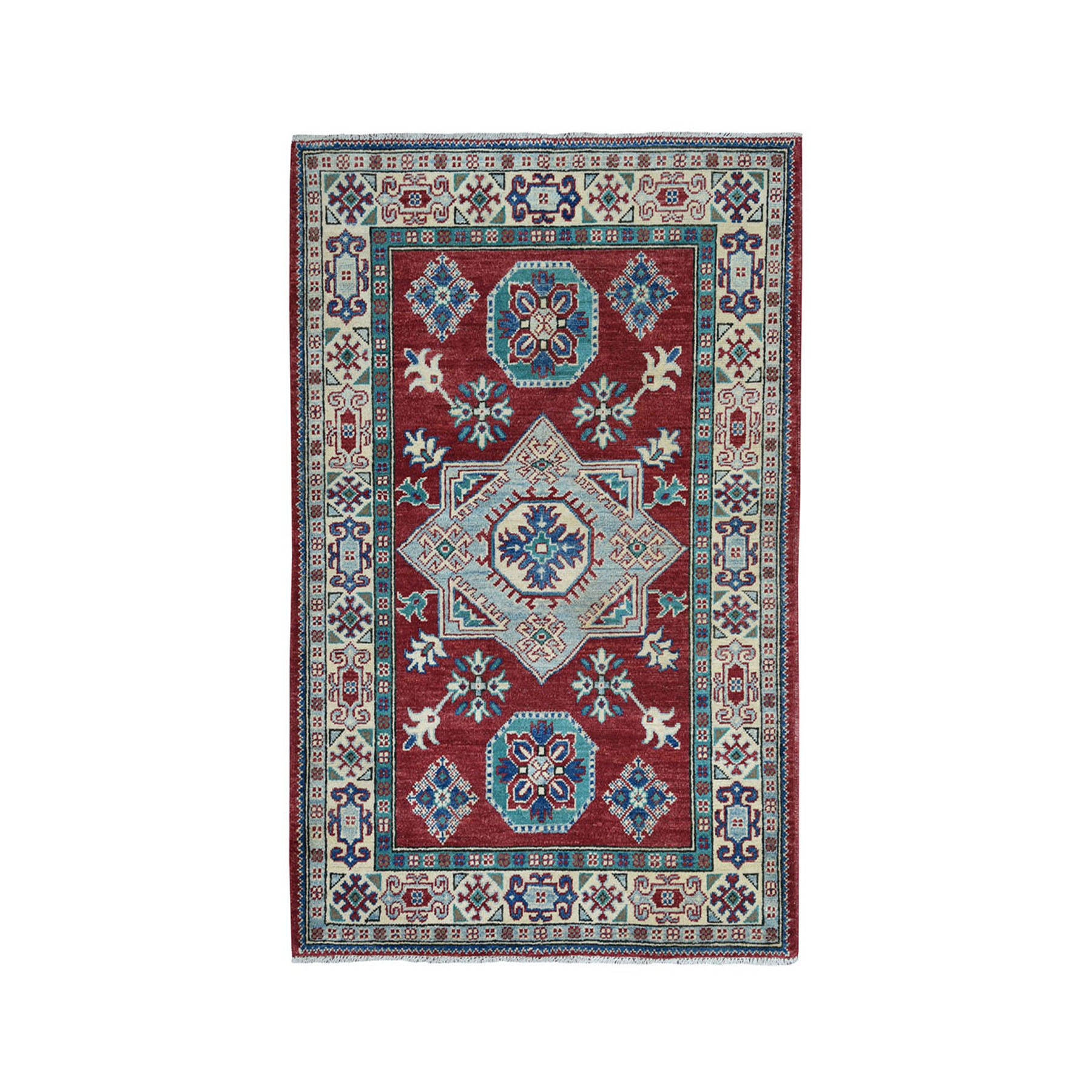 "3'5""X5' Red Geometric Design Kazak Pure Wool Hand-Knotted Oriental Rug moae08ad"