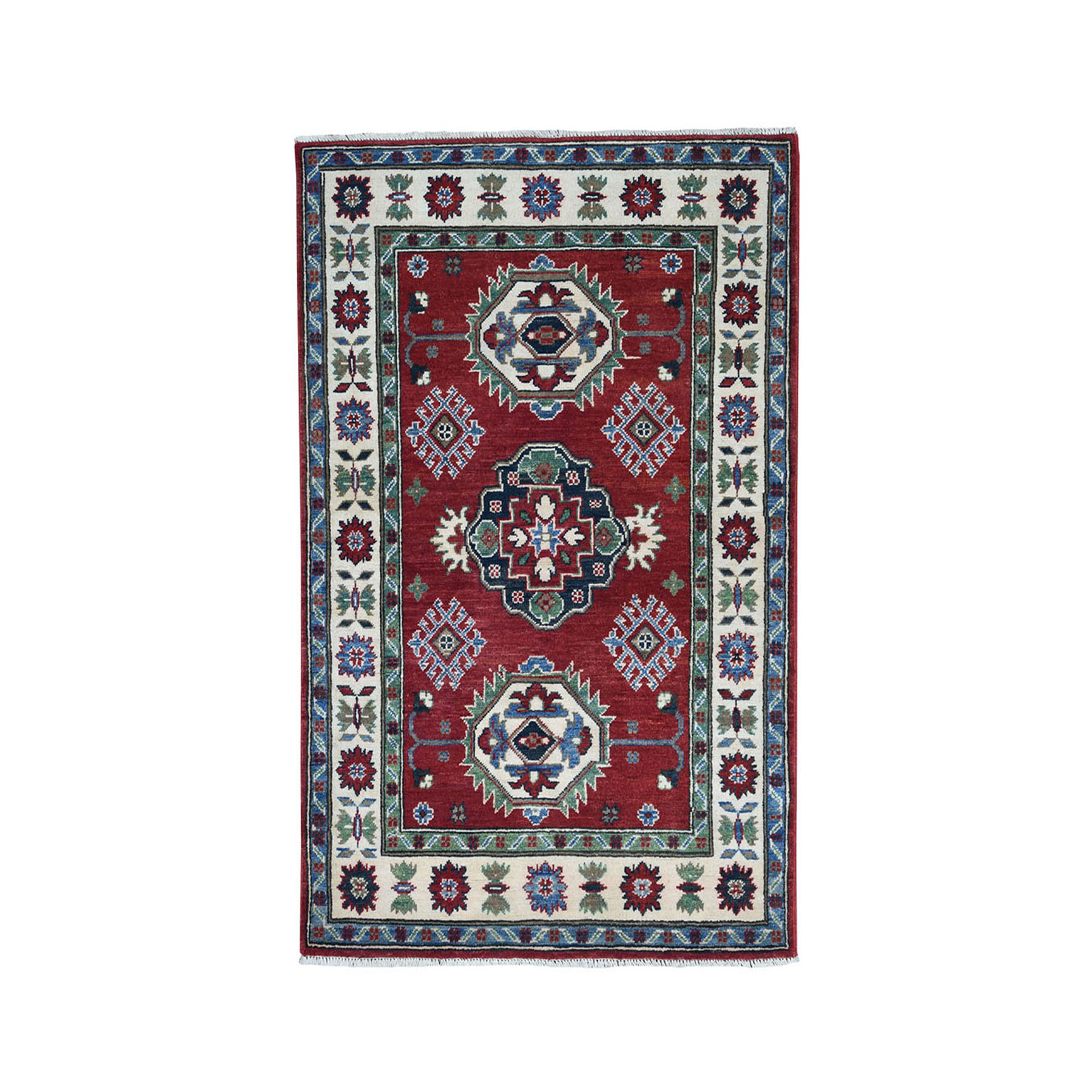 "3'3""X4'10"" Red Geometric Design Kazak Pure Wool Hand-Knotted Oriental Rug moae08ae"