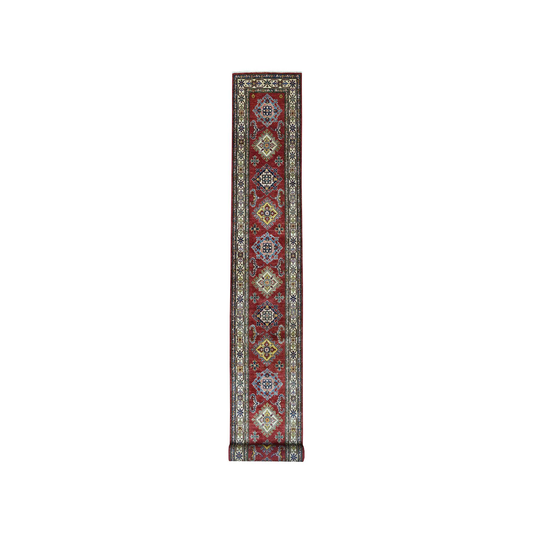 "2'5""X20'3"" Red Super Kazak Geometric Design Xl Runner Pure Wool Hand-Knotted Oriental Rug moae08a8"