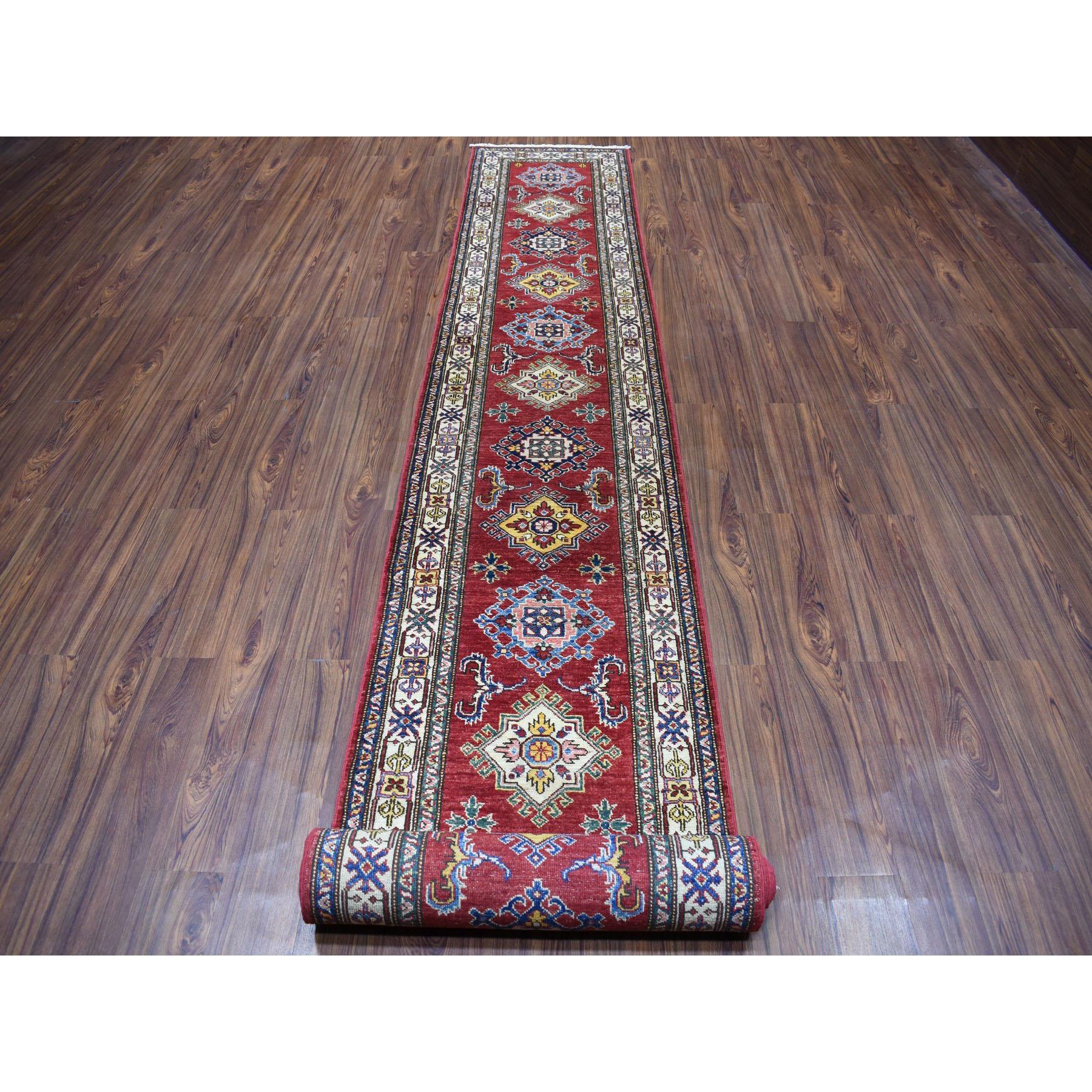 "2'5""x20'3"" Red Super Kazak Geometric Design XL Runner Pure Wool Hand-Knotted Oriental Rug"