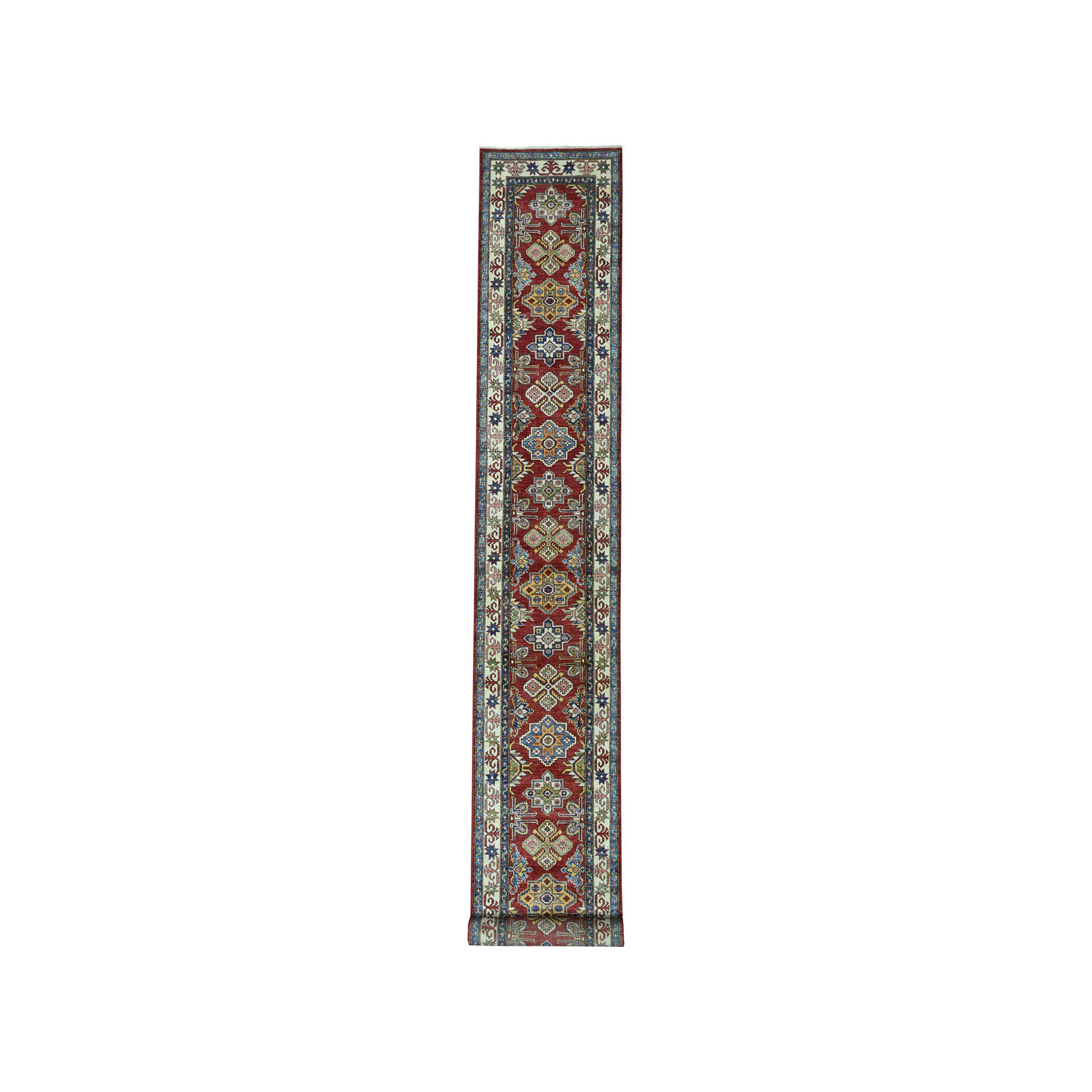 "2'4""x18' Red Super Kazak Geometric Design XL Runner Pure Wool Hand-Knotted Oriental Rug"