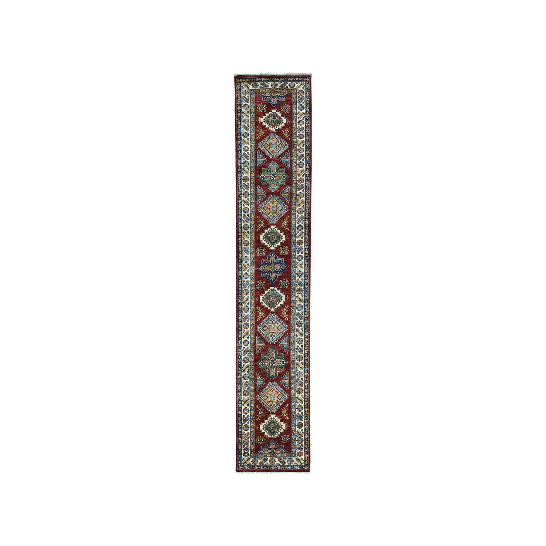 "2'4""X10'10"" Red Super Kazak Pure Wool Geometric Design Hand-Knotted Runner Oriental Rug moae08b0"