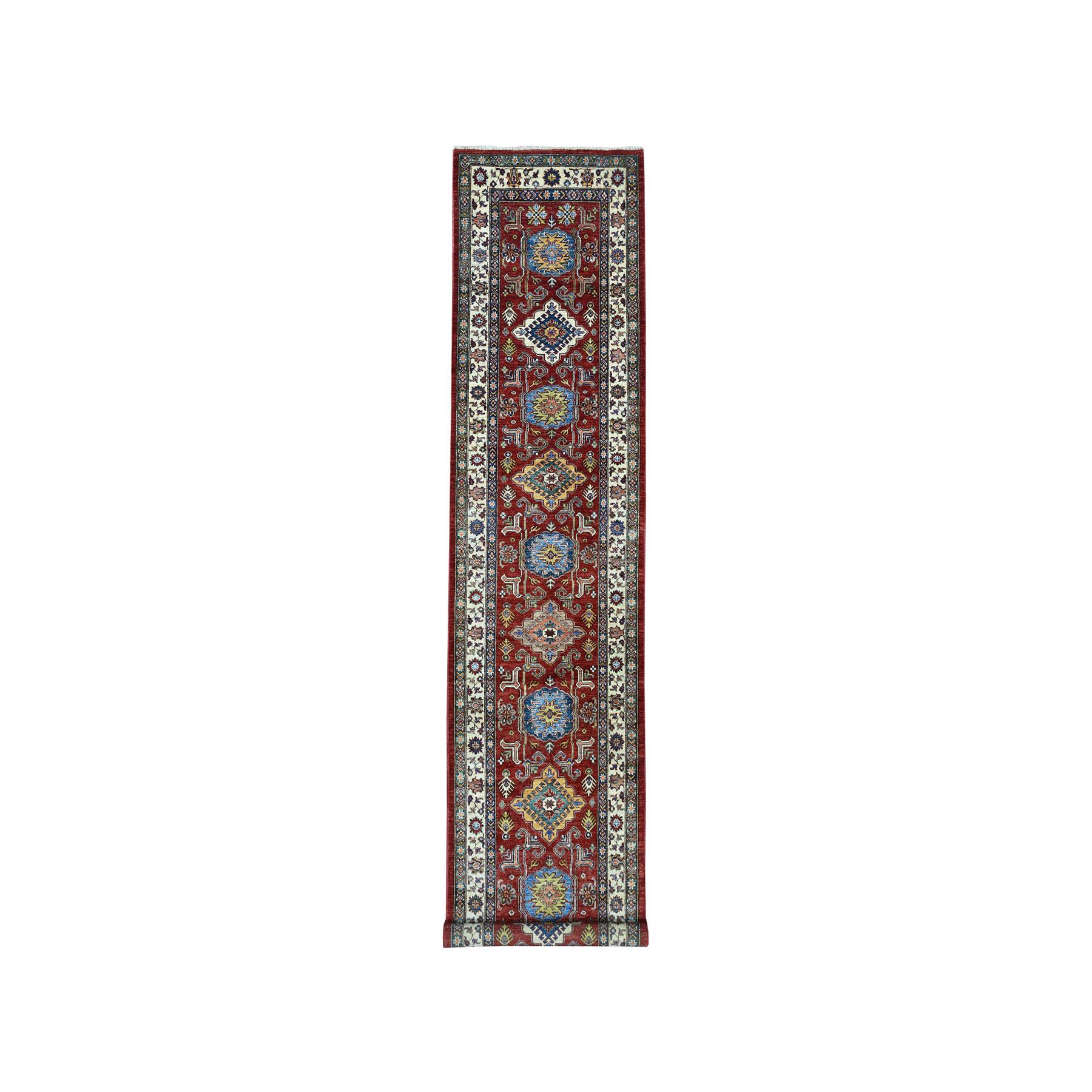 "3'4""X13'2"" Red Super Kazak Pure Wool Geometric Design Hand-Knotted Runner Oriental Rug moae08ba"