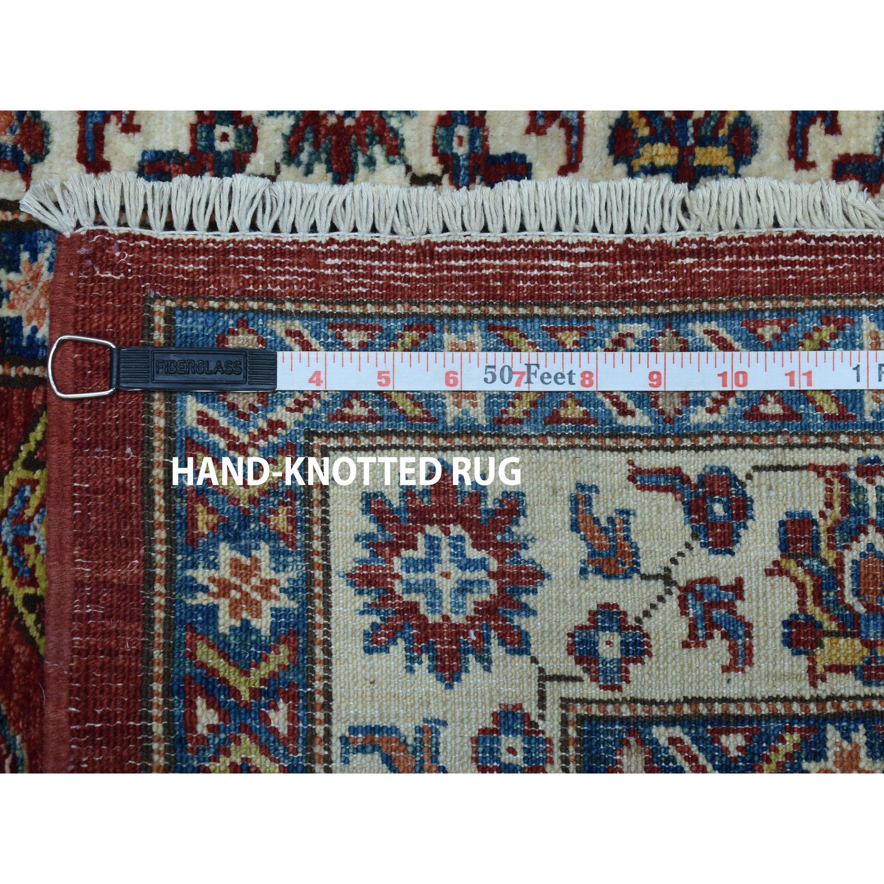 "3'4""x13'2"" Red Super Kazak Pure Wool Geometric Design Hand-Knotted Runner Oriental Rug"