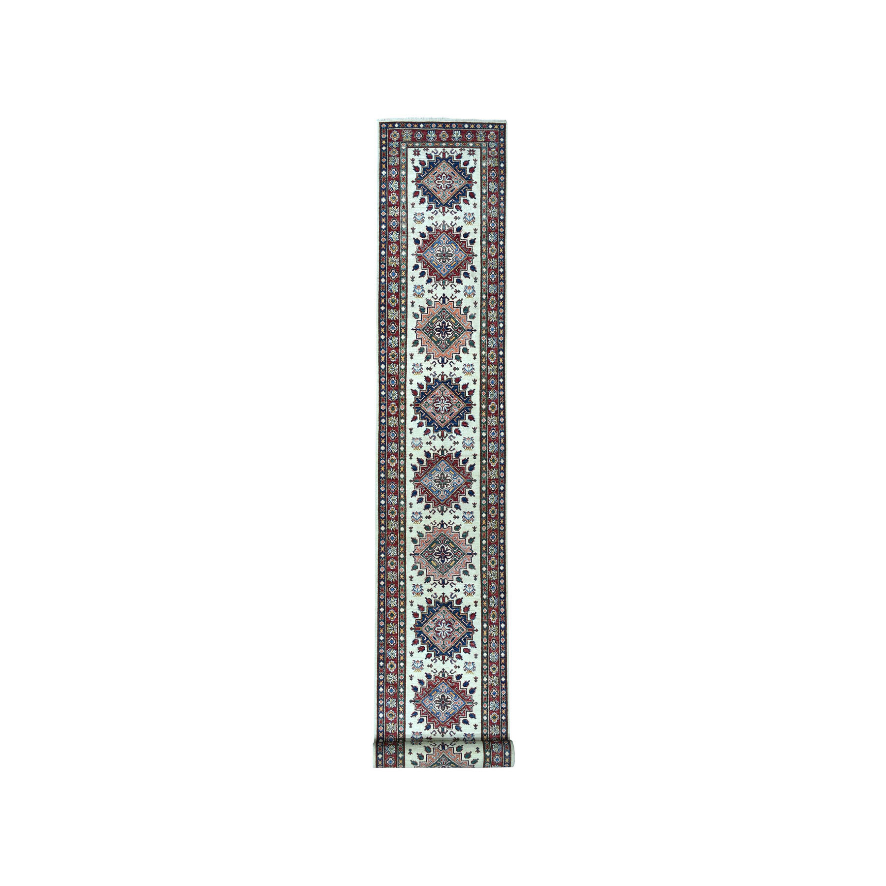 "2'10""X19'1"" Ivory Super Kazak Geometric Design Xl Runner Pure Wool Hand-Knotted Oriental Rug moae08bb"