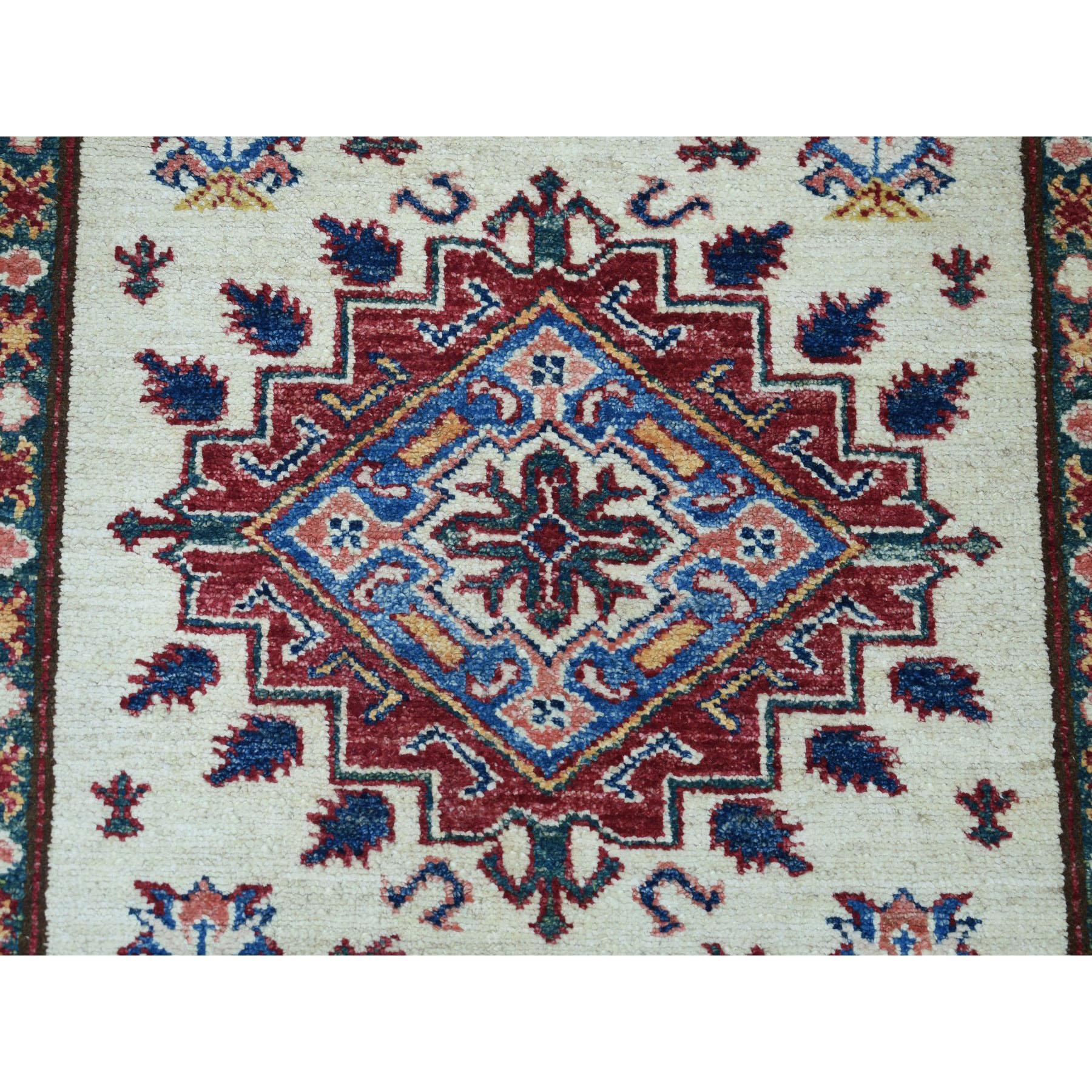 "2'10""x19'1"" Ivory Super Kazak Geometric Design XL Runner Pure Wool Hand-Knotted Oriental Rug"