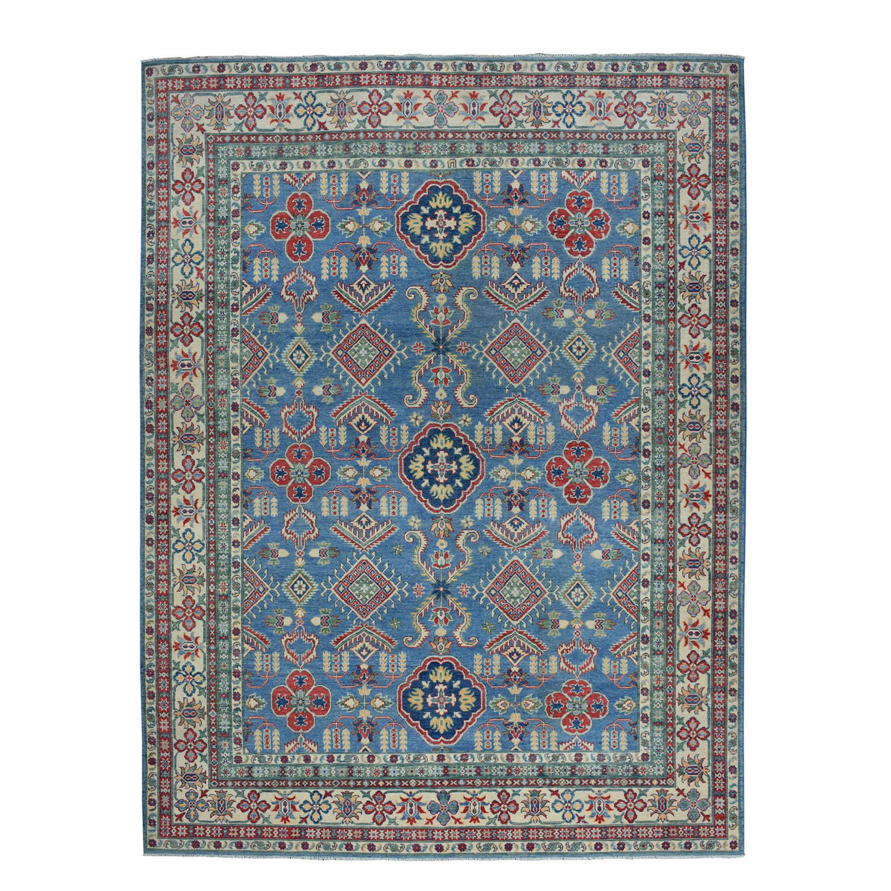"8'10""X12'2"" Blue Geometric Design Kazak Pure Wool Hand-Knotted Oriental Rug moae08cb"