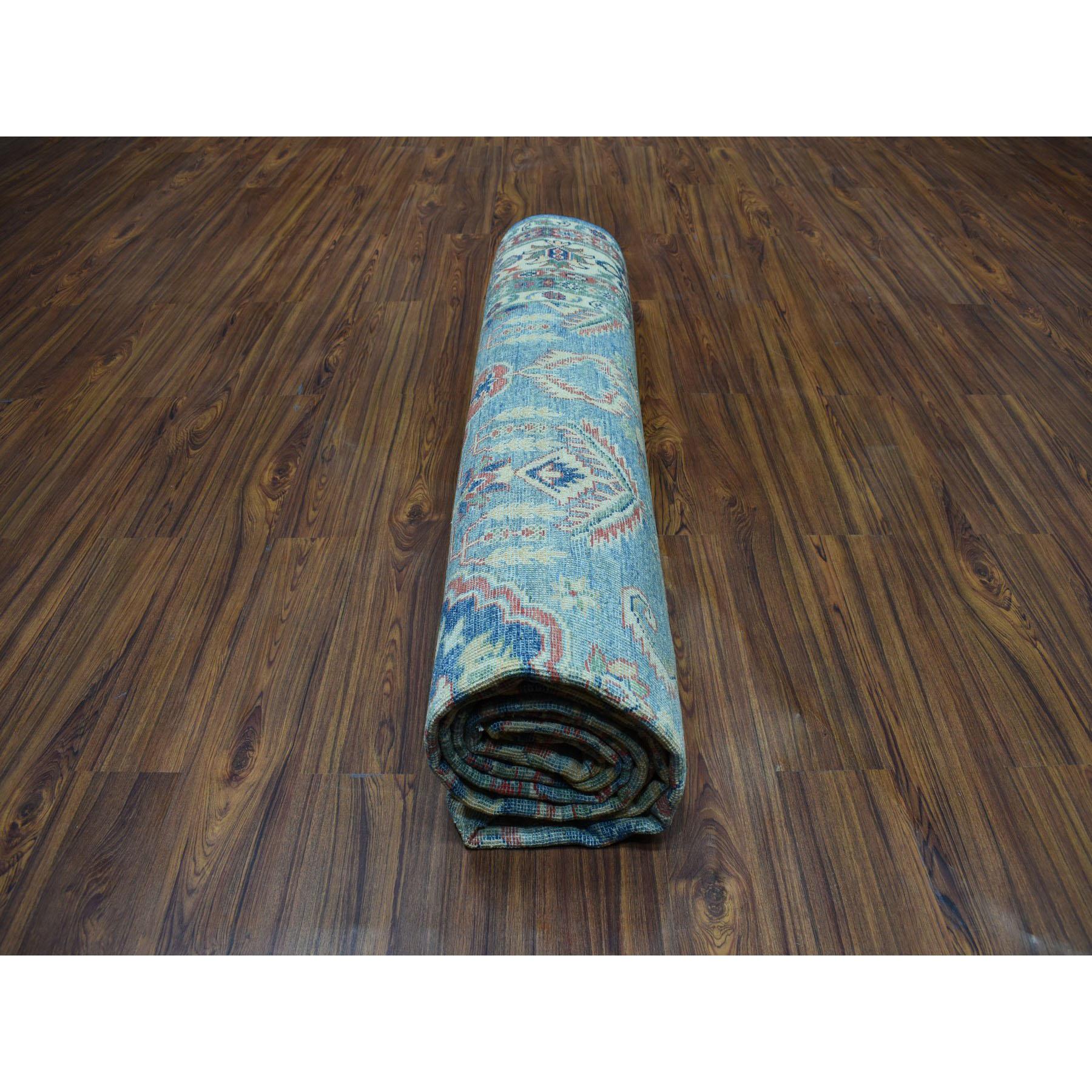 "8'10""x12'2"" Blue Geometric Design Kazak Pure Wool Hand-Knotted Oriental Rug"