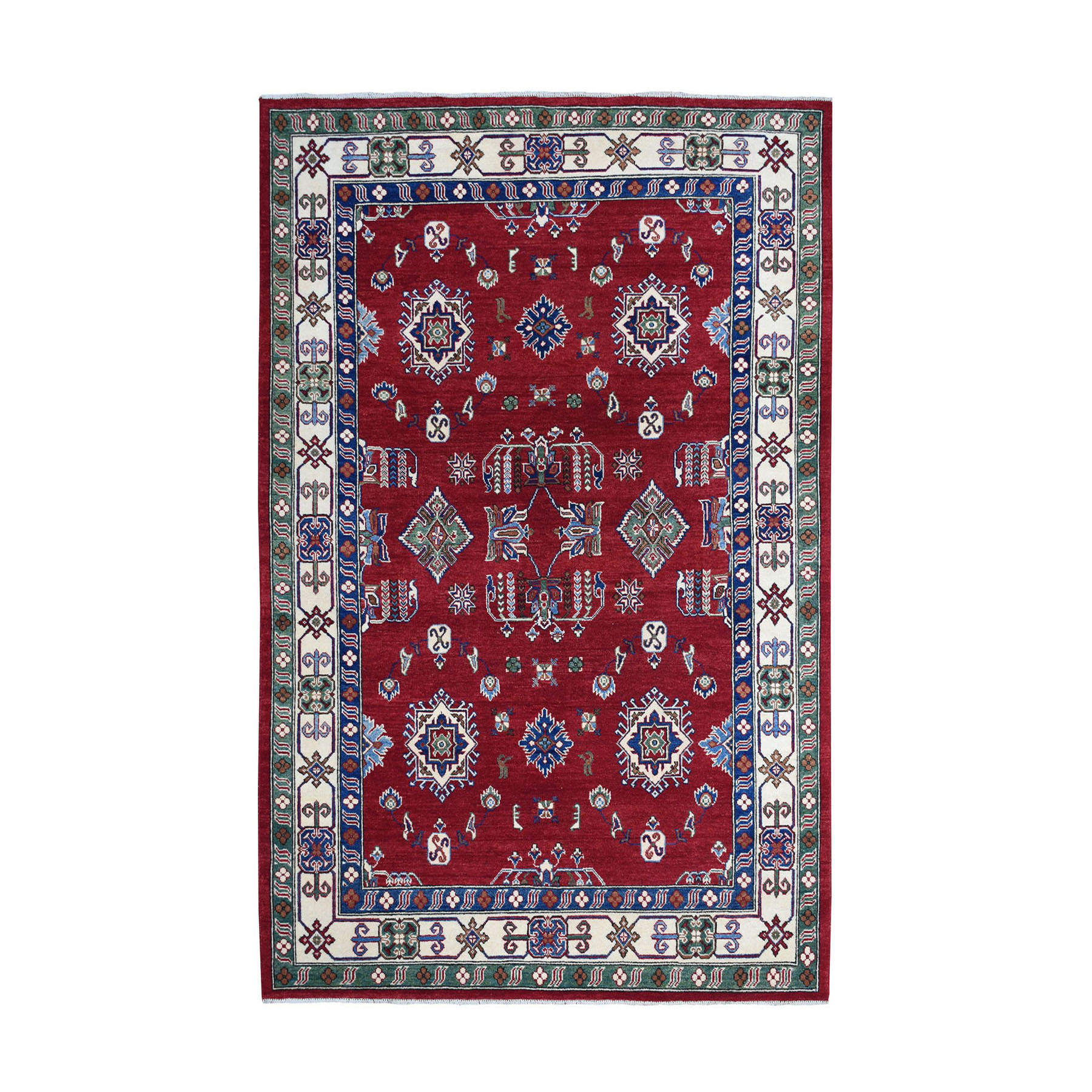 "6'X8'10"" Red Geometric Design Kazak Pure Wool Hand-Knotted Oriental Rug moae08cd"