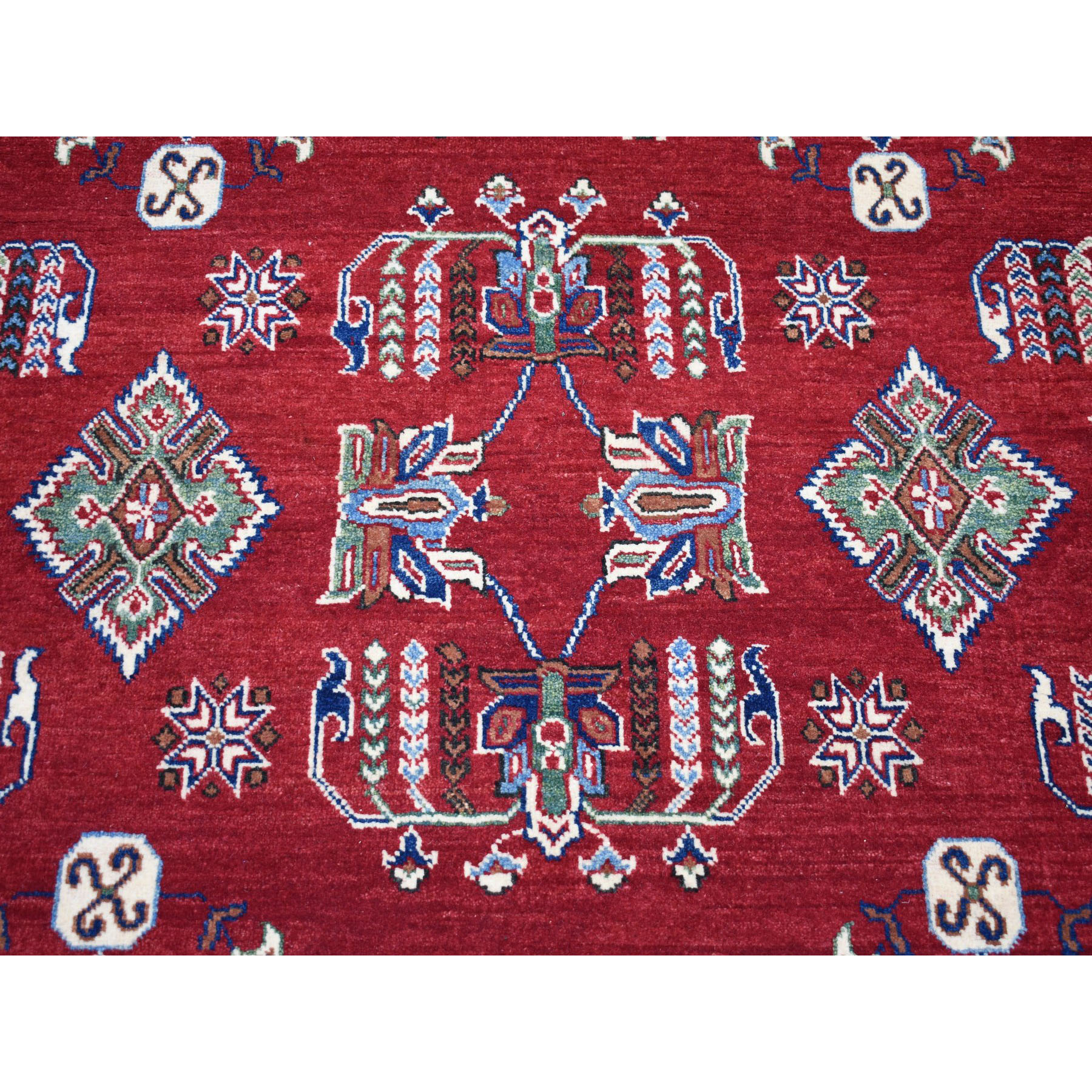 "6'x8'10"" Red Geometric Design Kazak Pure Wool Hand-Knotted Oriental Rug"
