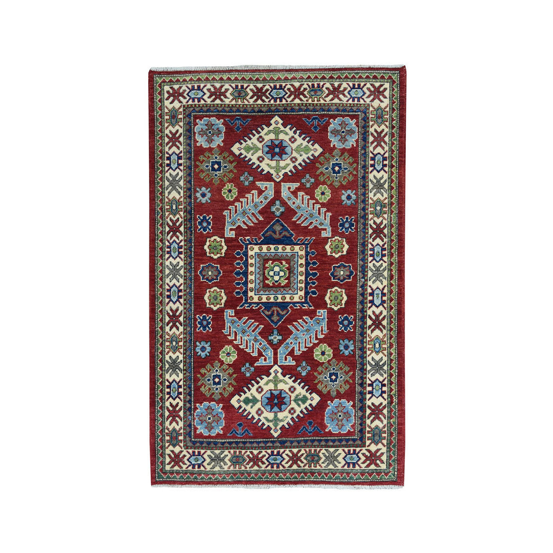 "3'2""X4'9"" Red Geometric Design Kazak Pure Wool Hand-Knotted Oriental Rug moae08db"