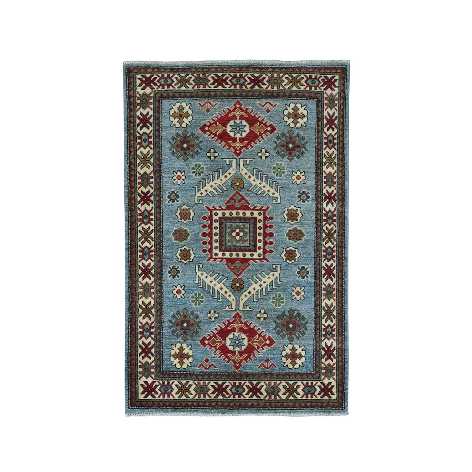 "3'1""X4'10"" Blue Geometric Design Kazak Pure Wool Hand-Knotted Oriental Rug moae08dd"