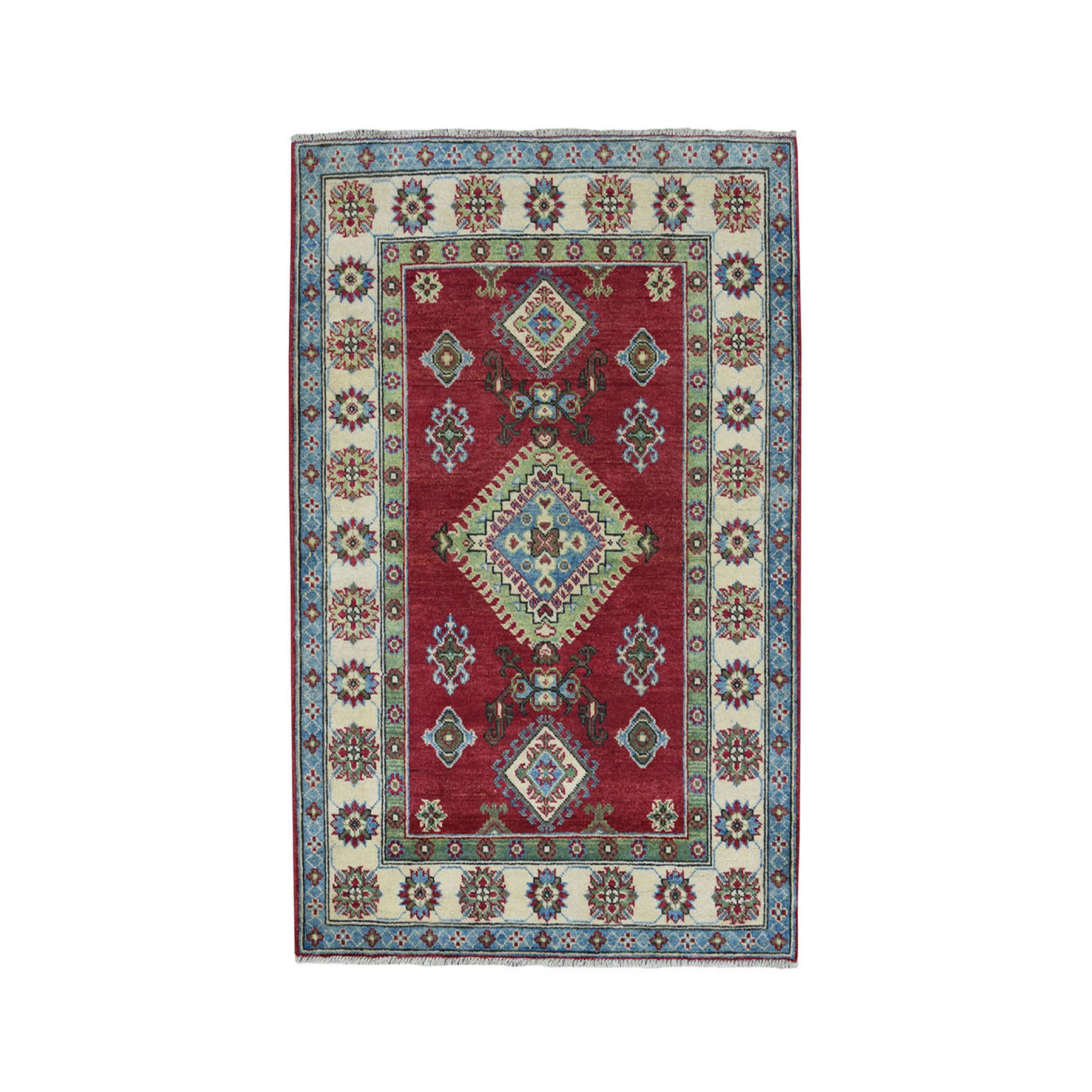 "3'6""X4'8"" Red Geometric Design Kazak Pure Wool Hand-Knotted Oriental Rug moae08de"