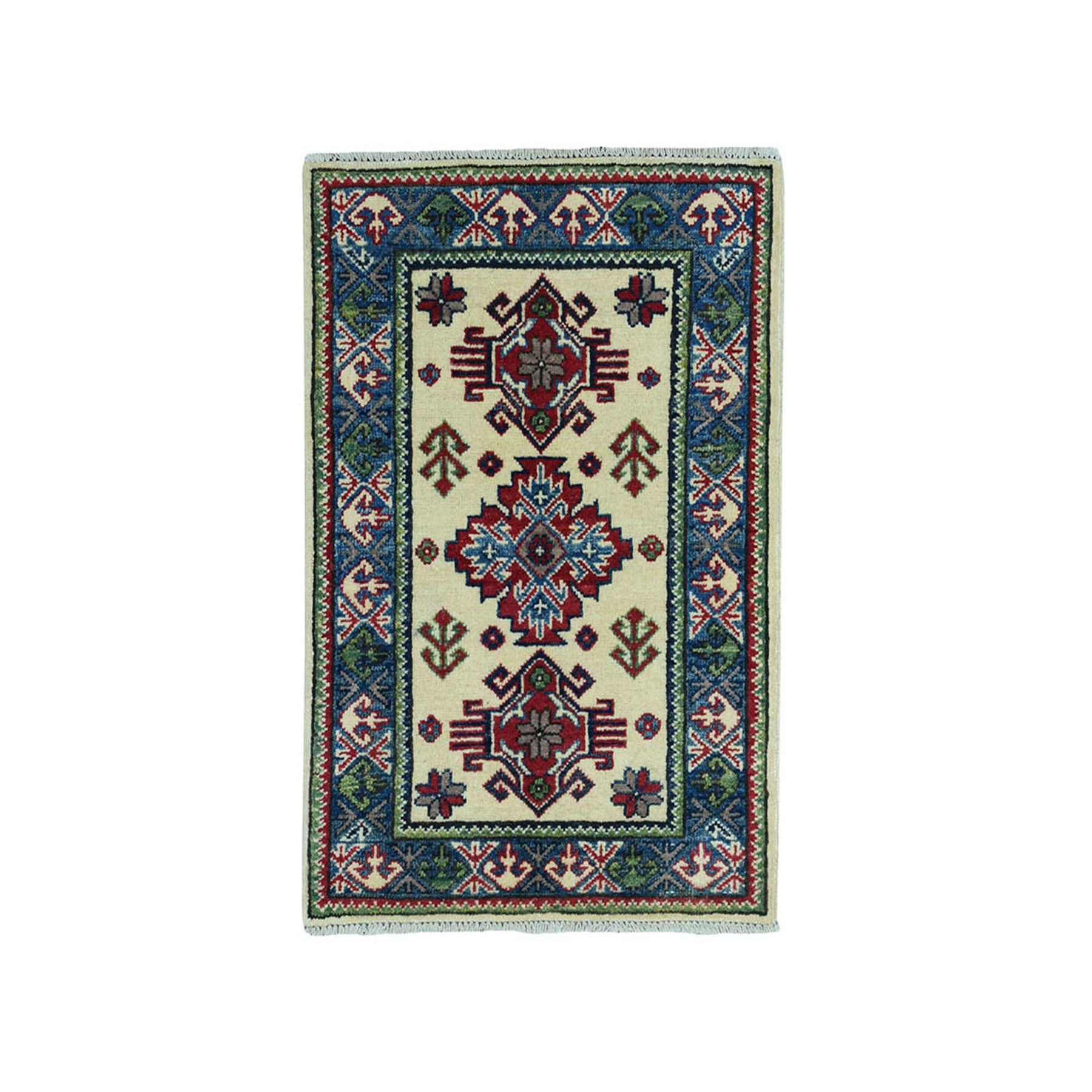 2'X3' Ivory Geometric Design Kazak Pure Wool Hand-Knotted Oriental Rug moae08d7