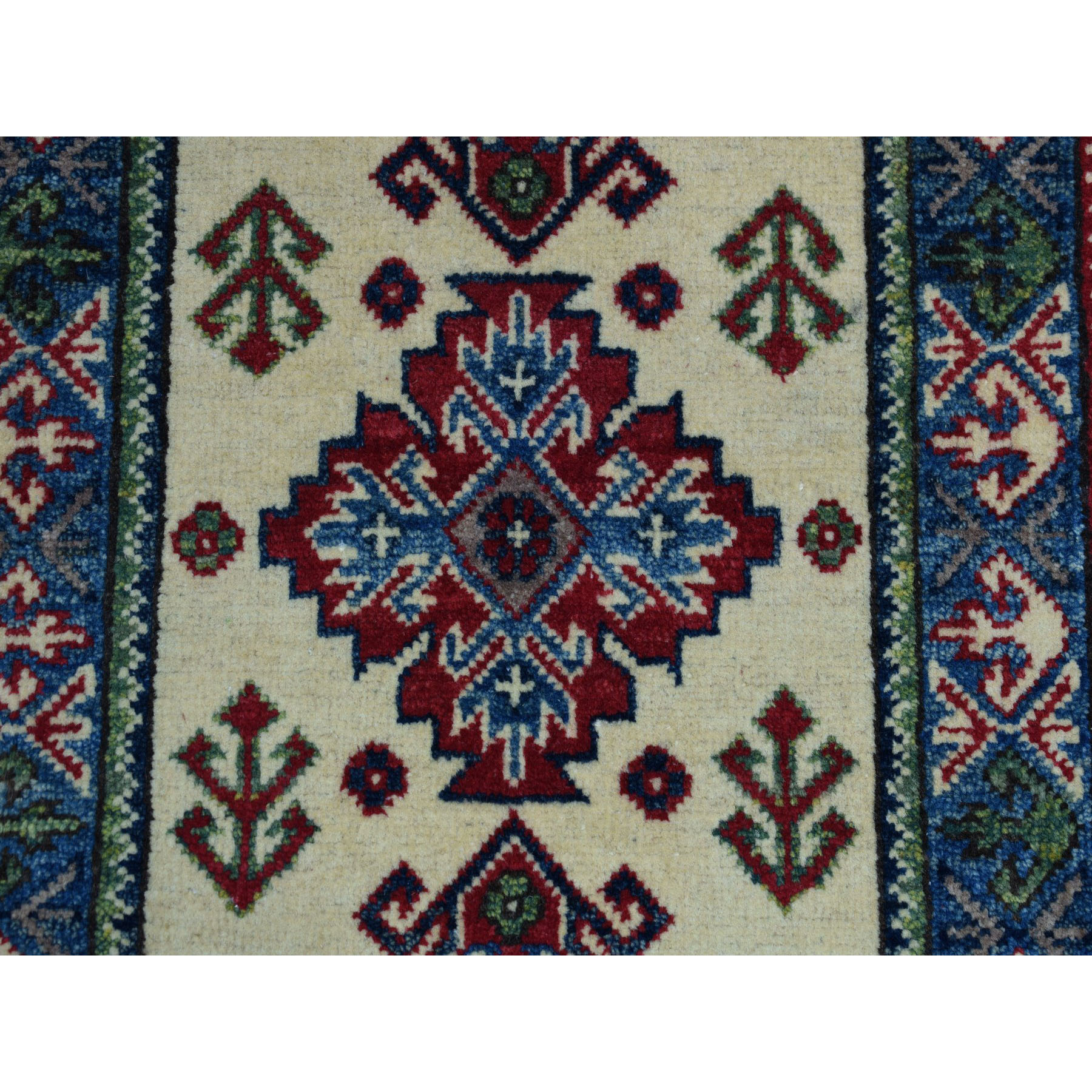 2-x3- Ivory Geometric Design Kazak Pure Wool Hand-Knotted Oriental Rug