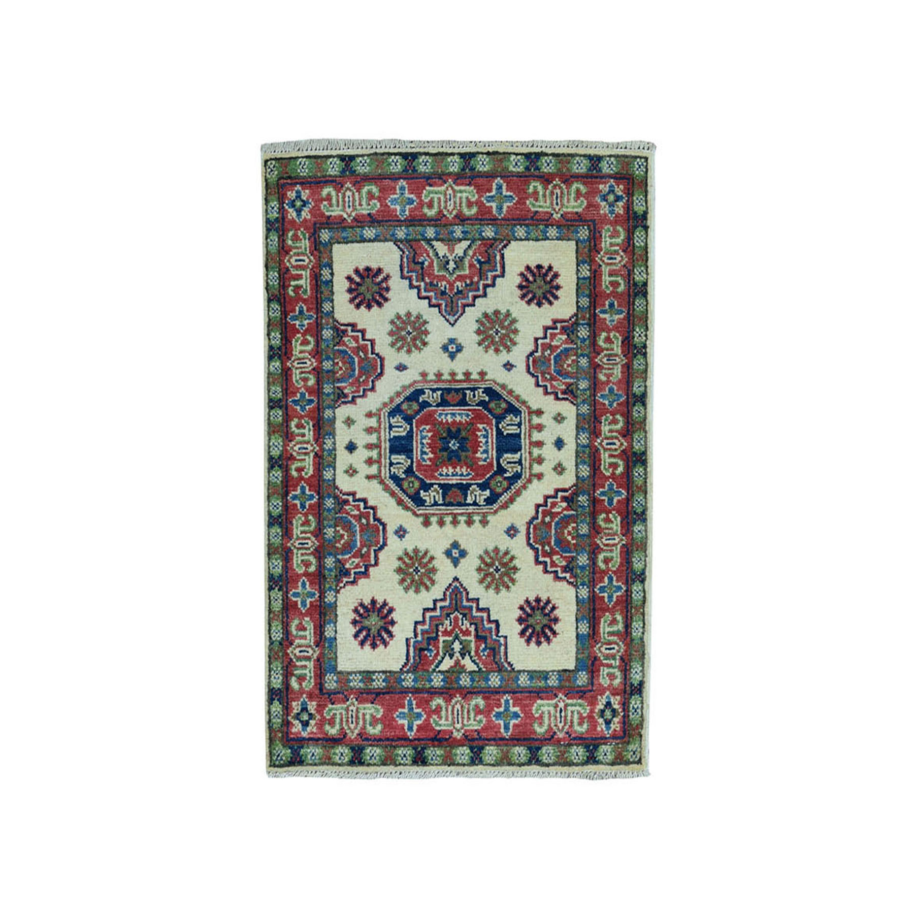 "2'x2'10"" Ivory Geometric Design Kazak Pure Wool Hand-Knotted Oriental Rug"
