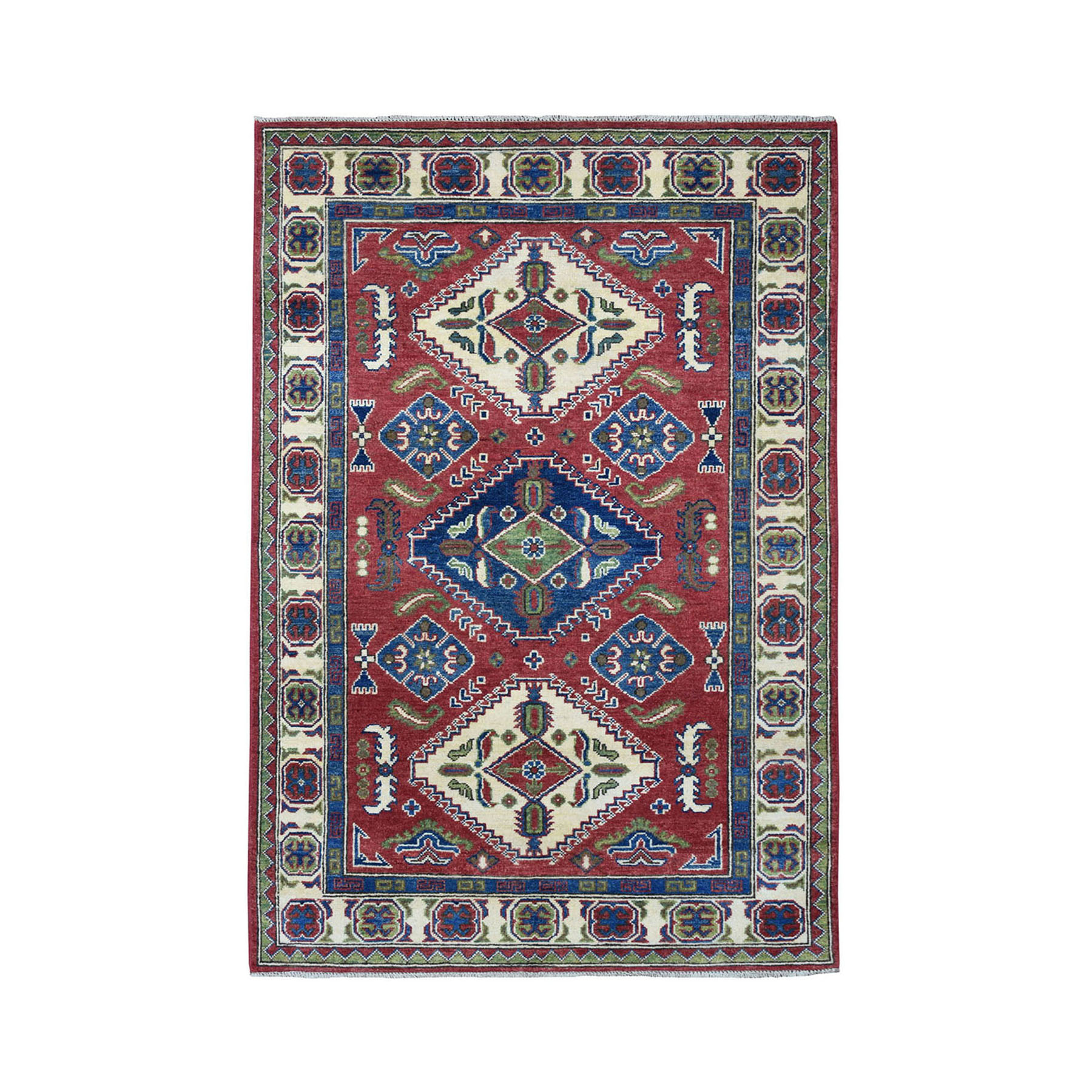 4'X6' Red Geometric Design Kazak Pure Wool Hand-Knotted Oriental Rug moae08ed