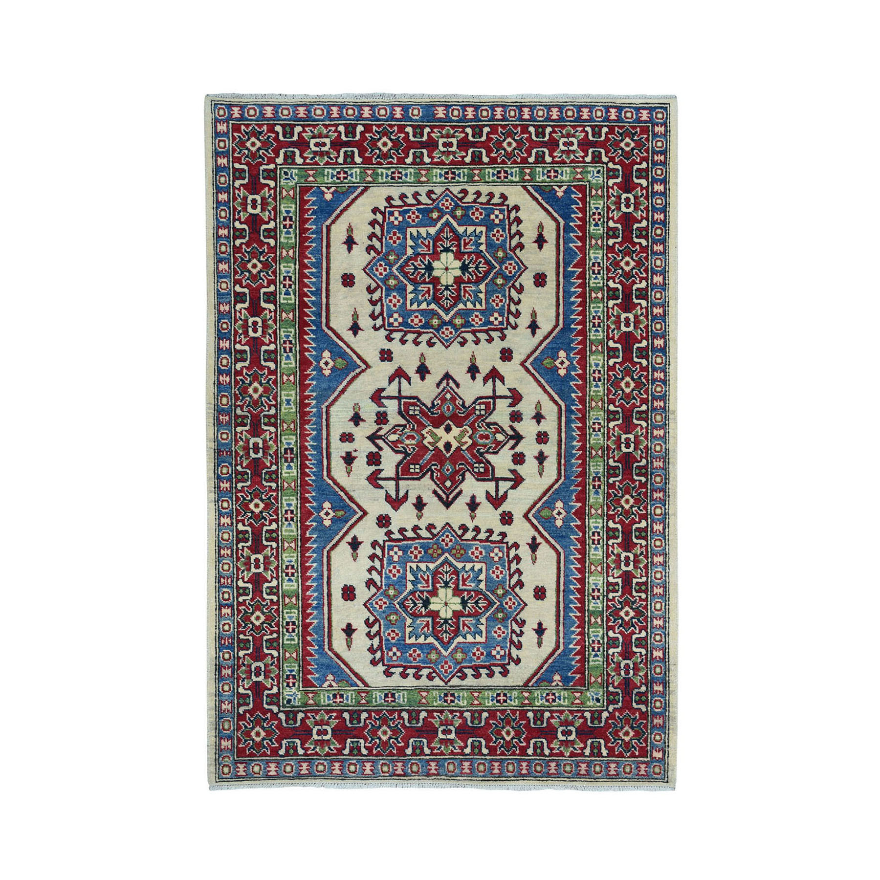 "4'2""x6' Ivory Geometric Design Kazak Pure Wool Hand-Knotted Oriental Rug"