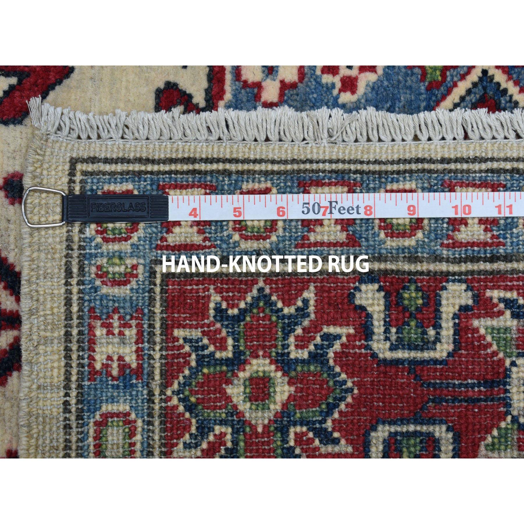 4-2 x6- Ivory Geometric Design Kazak Pure Wool Hand-Knotted Oriental Rug