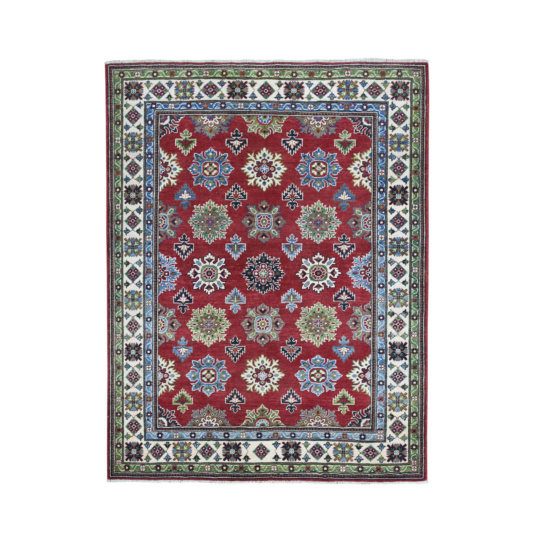 "5'X6'5"" Red Geometric Design Kazak Pure Wool Hand-Knotted Oriental Rug moae08e7"