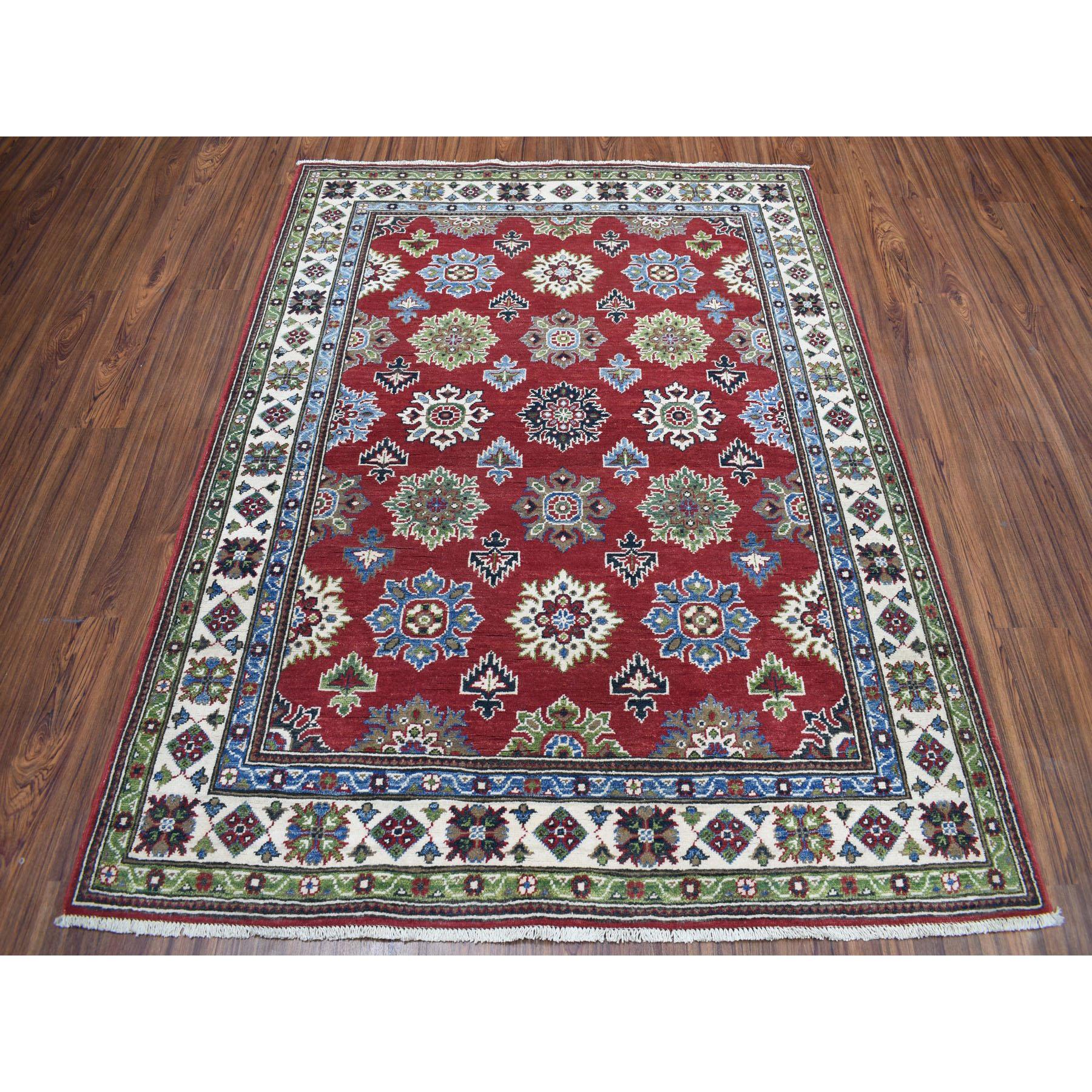 5-x6-5  Red Geometric Design Kazak Pure Wool Hand-Knotted Oriental Rug