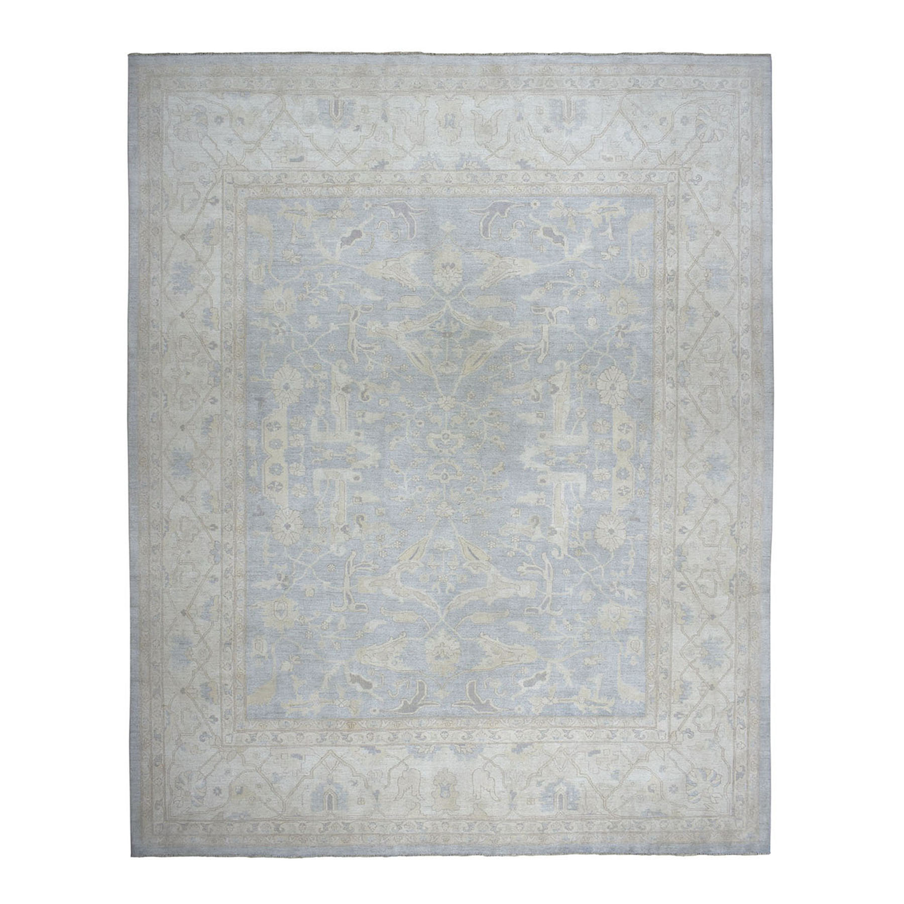 "12'X14'7"" Oversized White Wash Peshawar With Oushak Design Hand-Knotted Oriental Rug moae08e8"